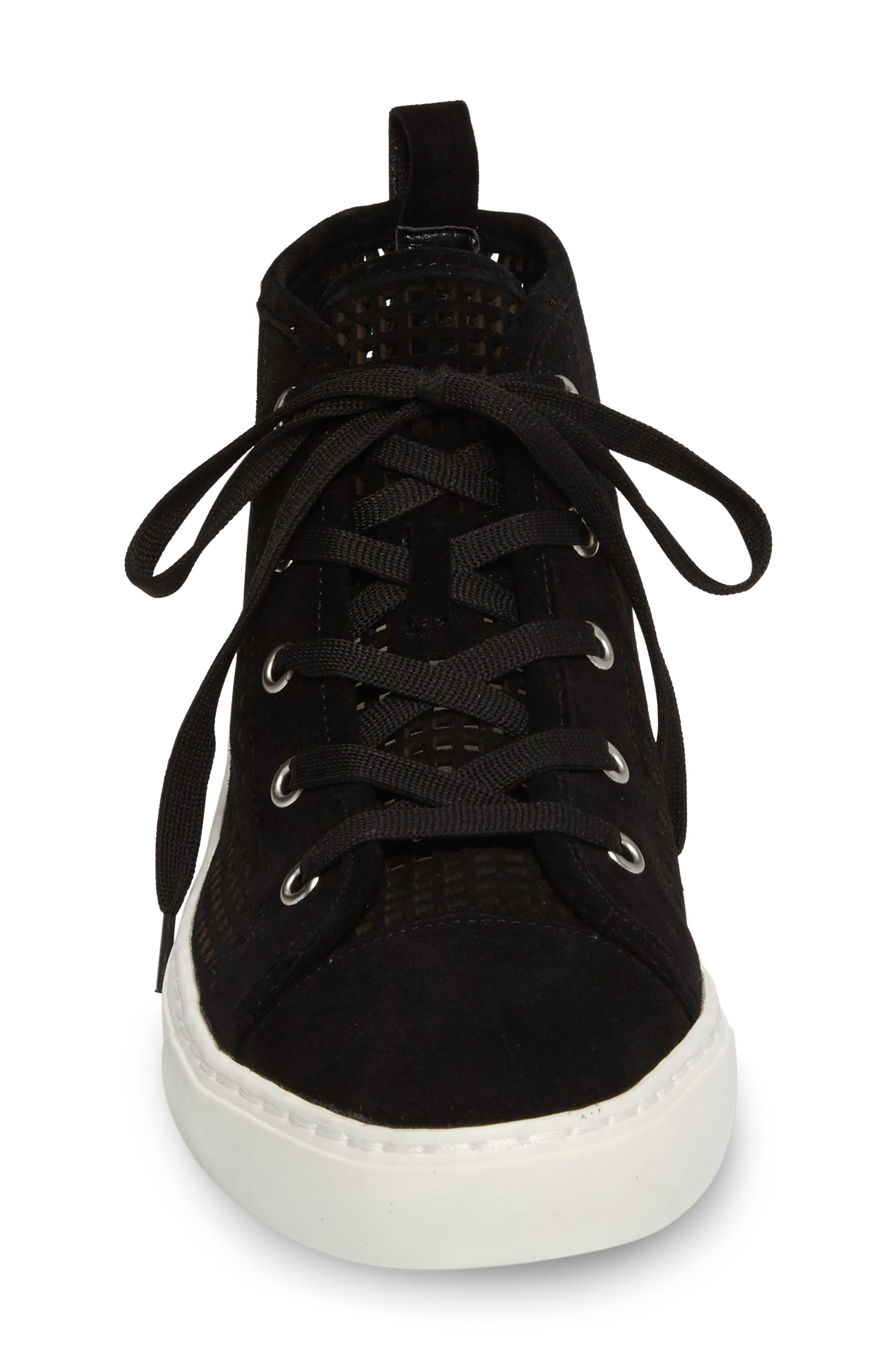 Dulcia Perforated High-Top Sneaker,                             Alternate thumbnail 3, color,                             001