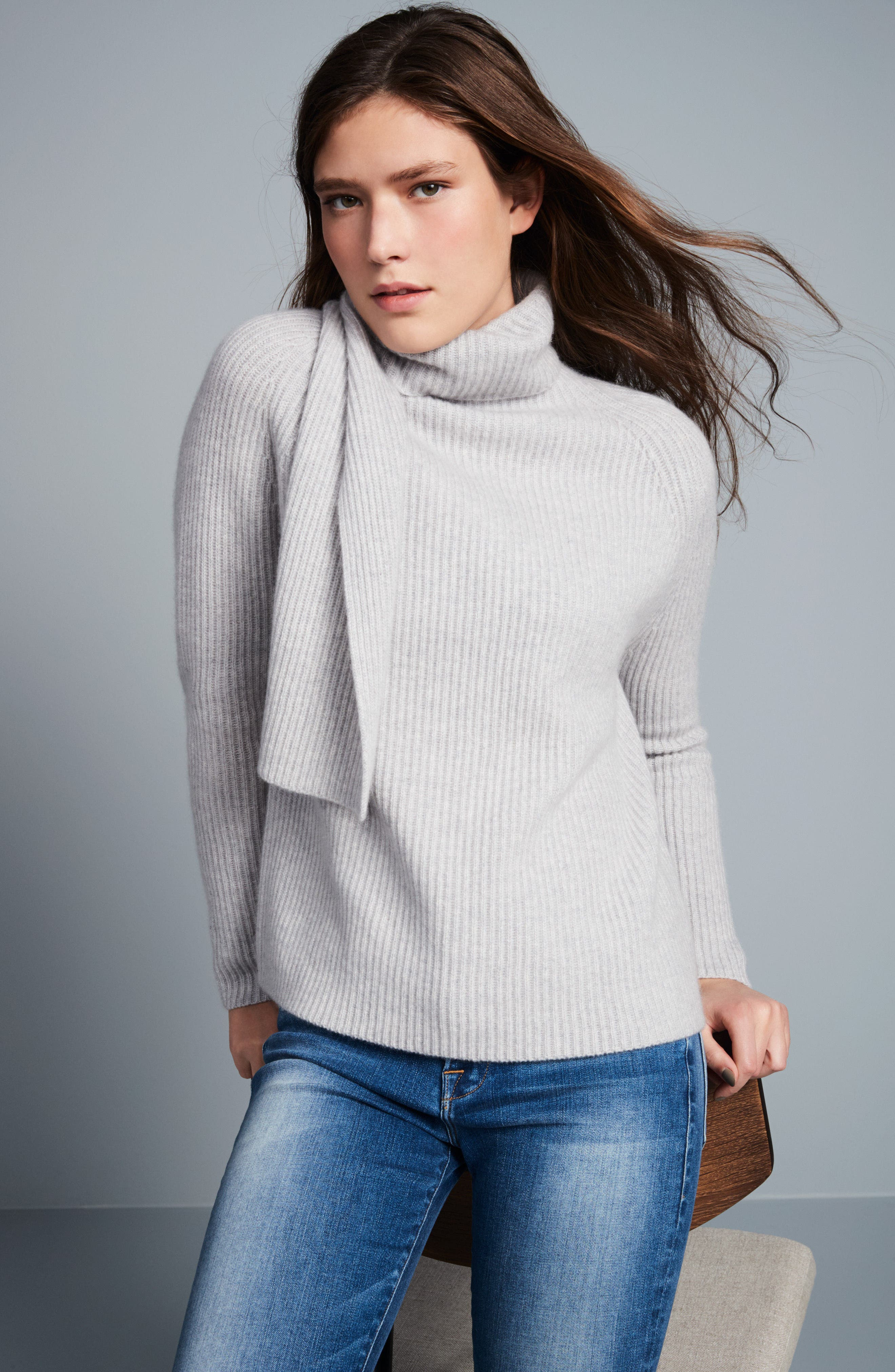 Scarf Neck Cashmere Sweater,                             Alternate thumbnail 7, color,                             050