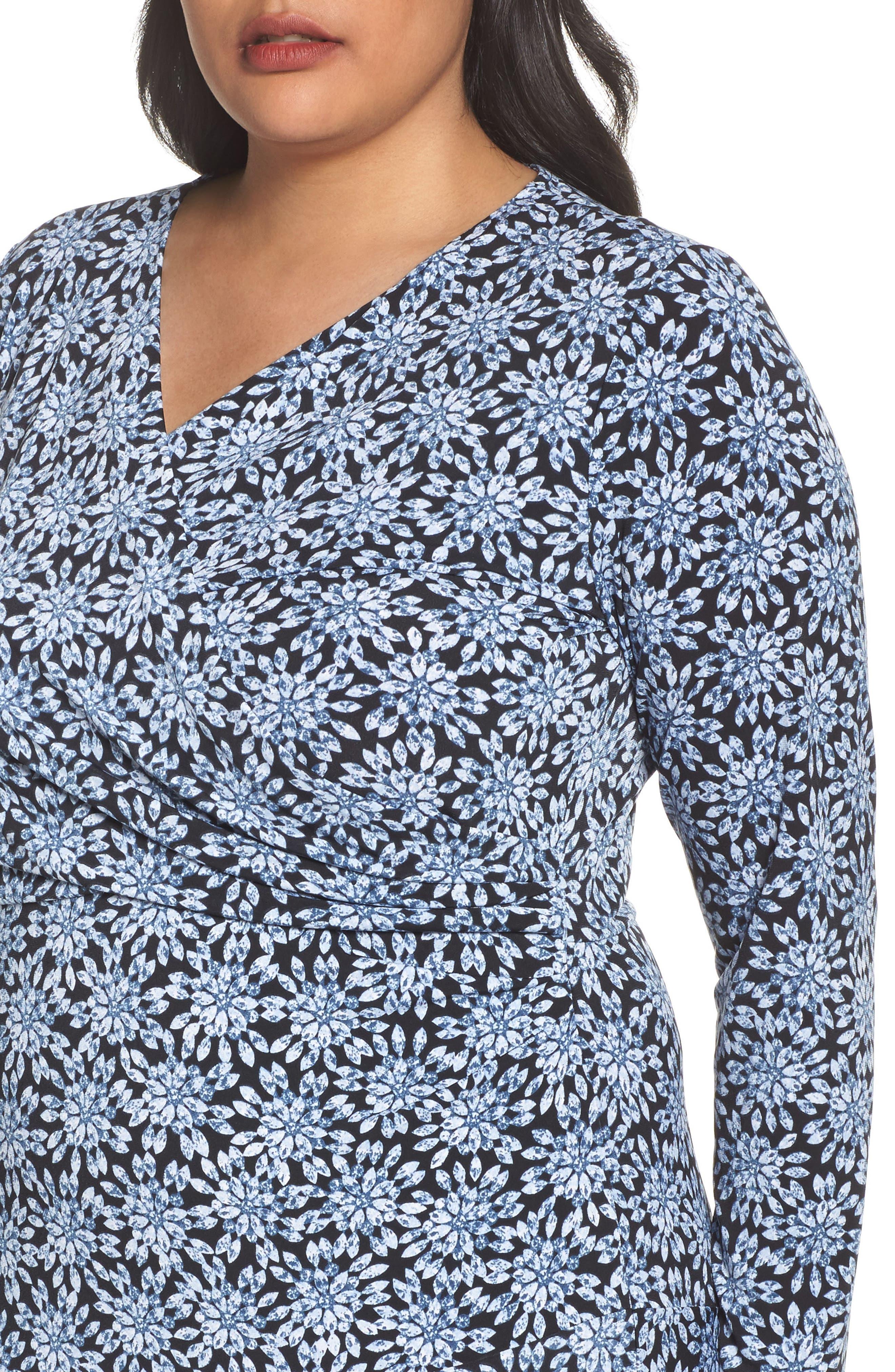 Print Faux Wrap Dress,                             Alternate thumbnail 4, color,                             468