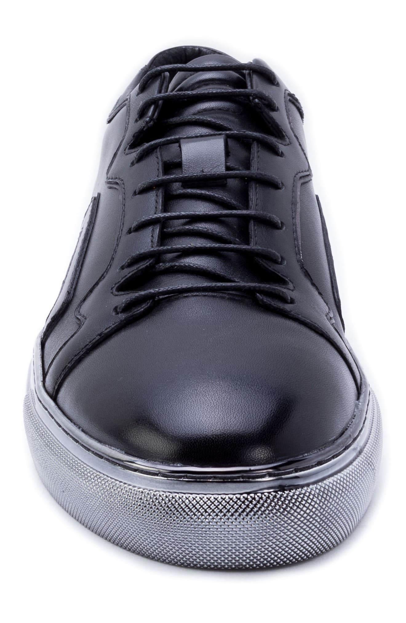 Caine Sneaker,                             Alternate thumbnail 4, color,                             BLACK LEATHER