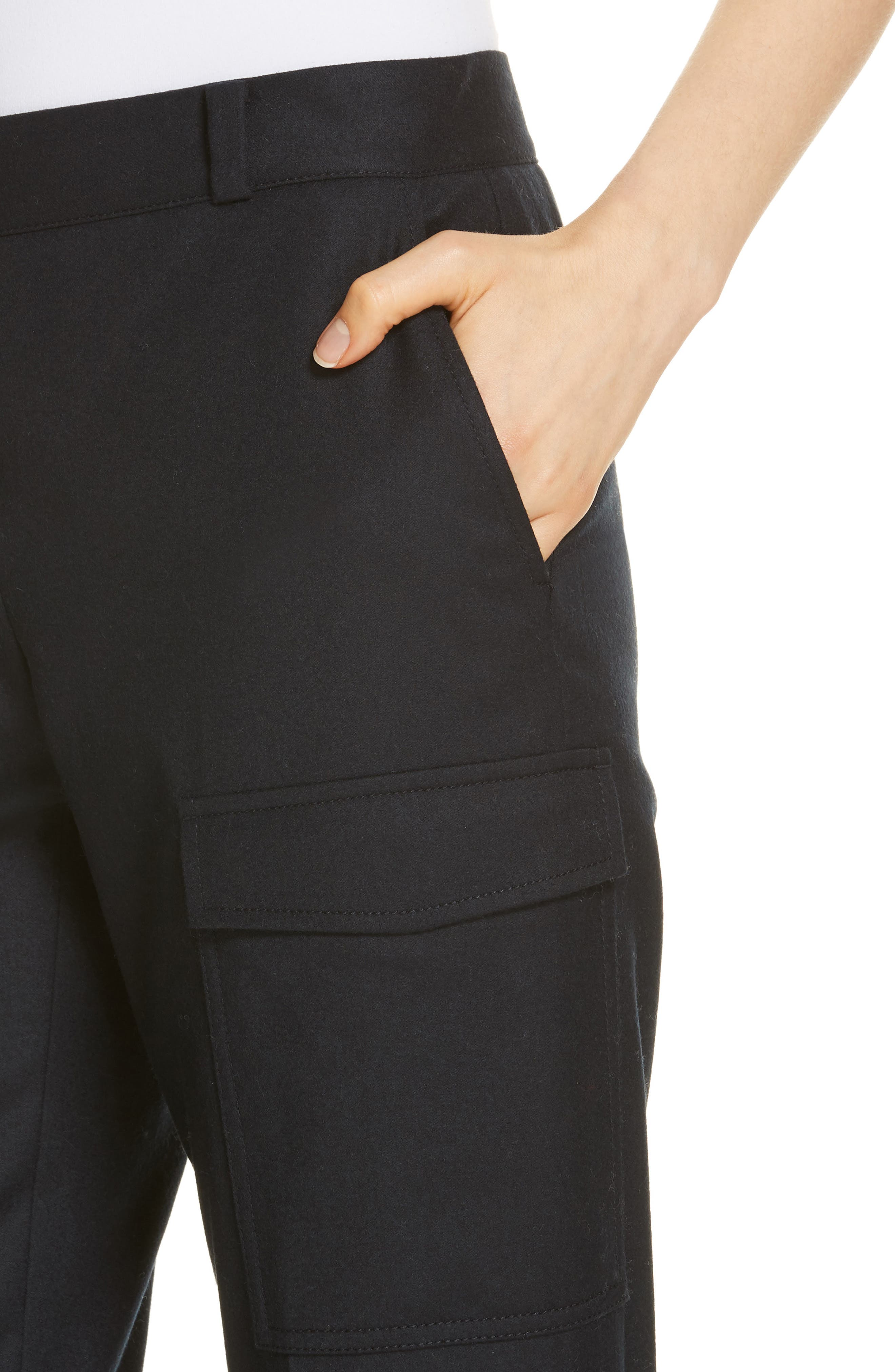 Wool Blend Flannel Button Cuff Pants,                             Alternate thumbnail 4, color,                             410
