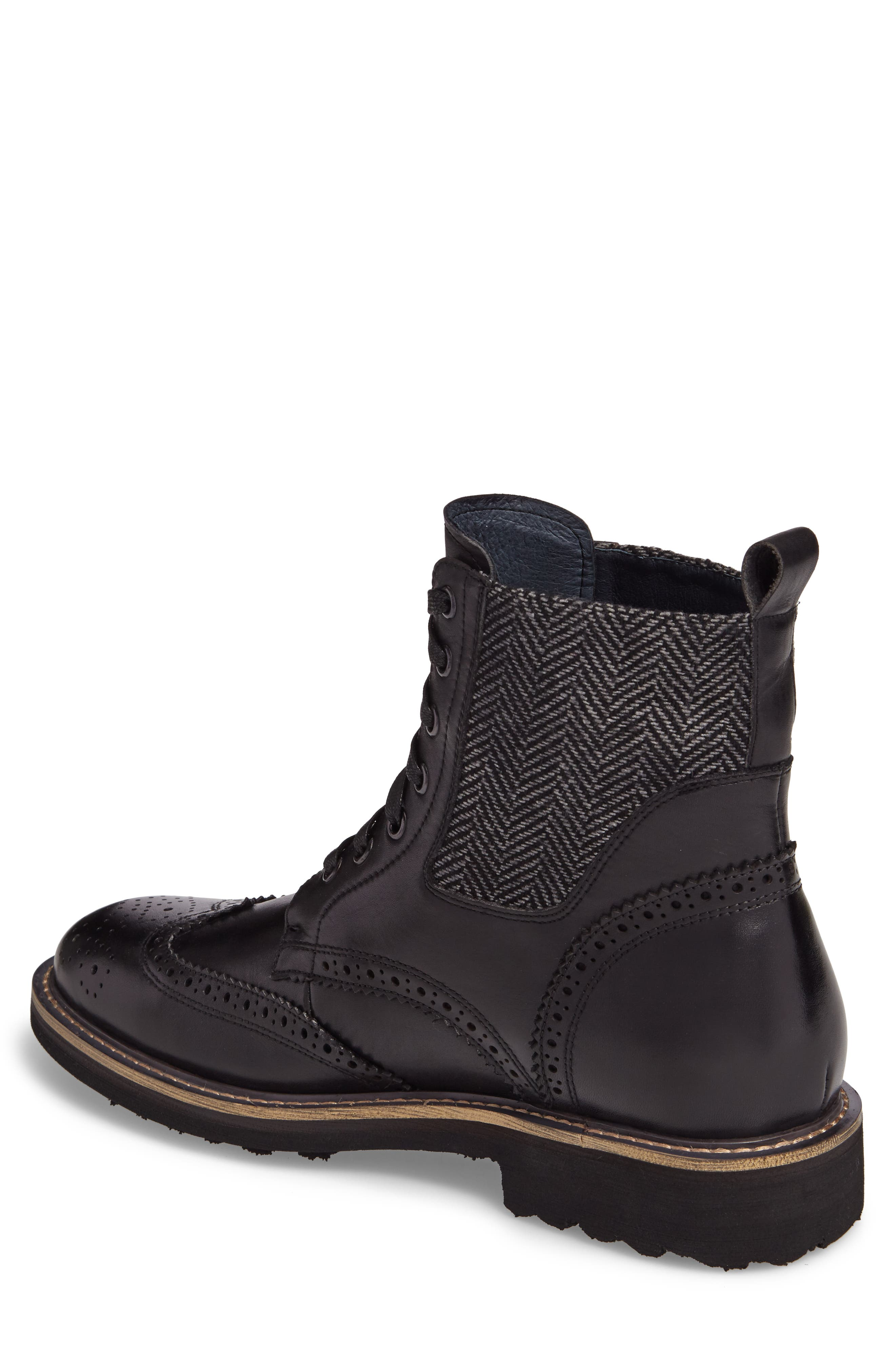 Farber Wingtip Boot,                             Alternate thumbnail 2, color,                             BLACK LEATHER