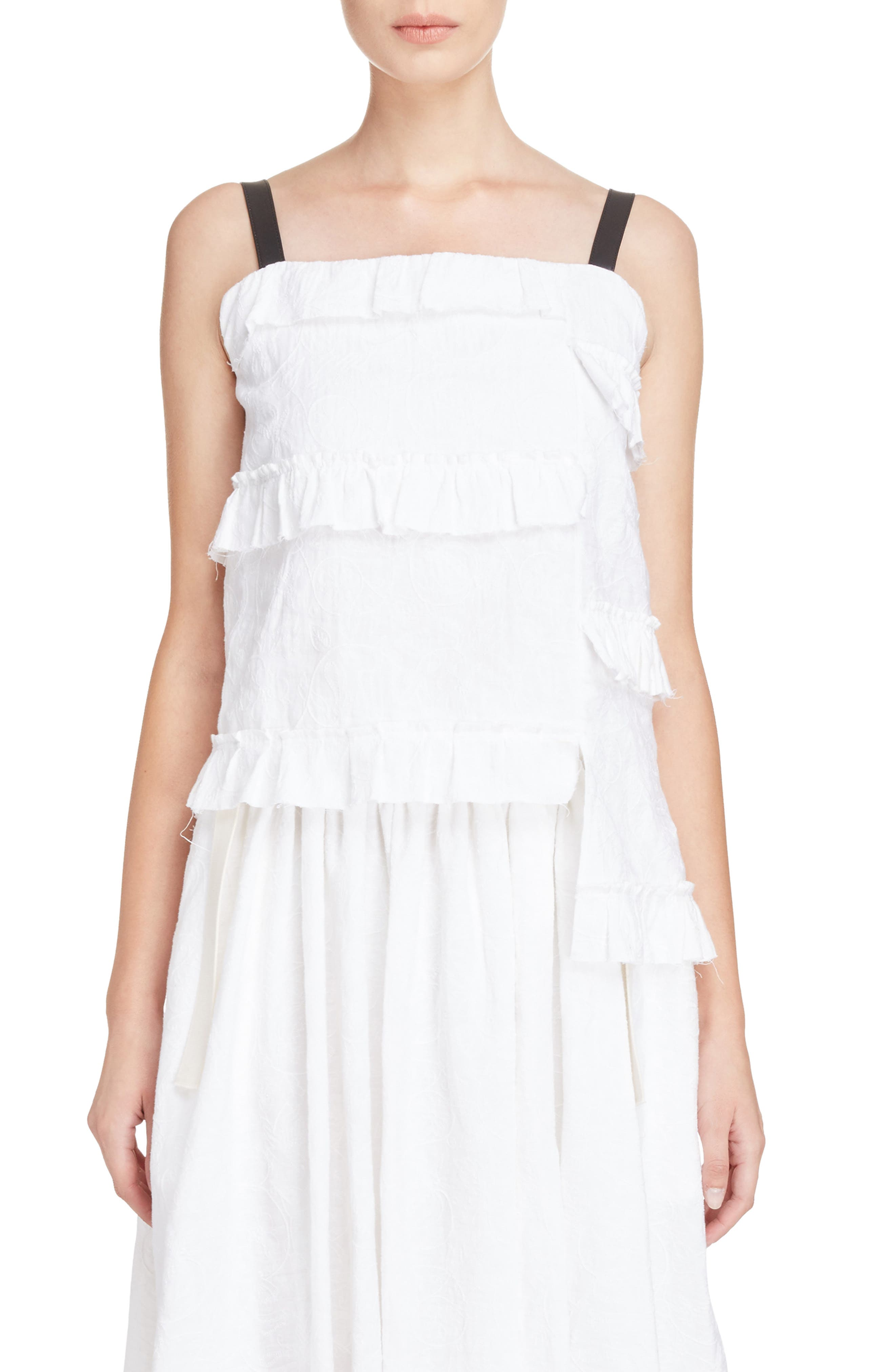 Broderie Anglaise Ruffle Camisole,                             Main thumbnail 1, color,                             100