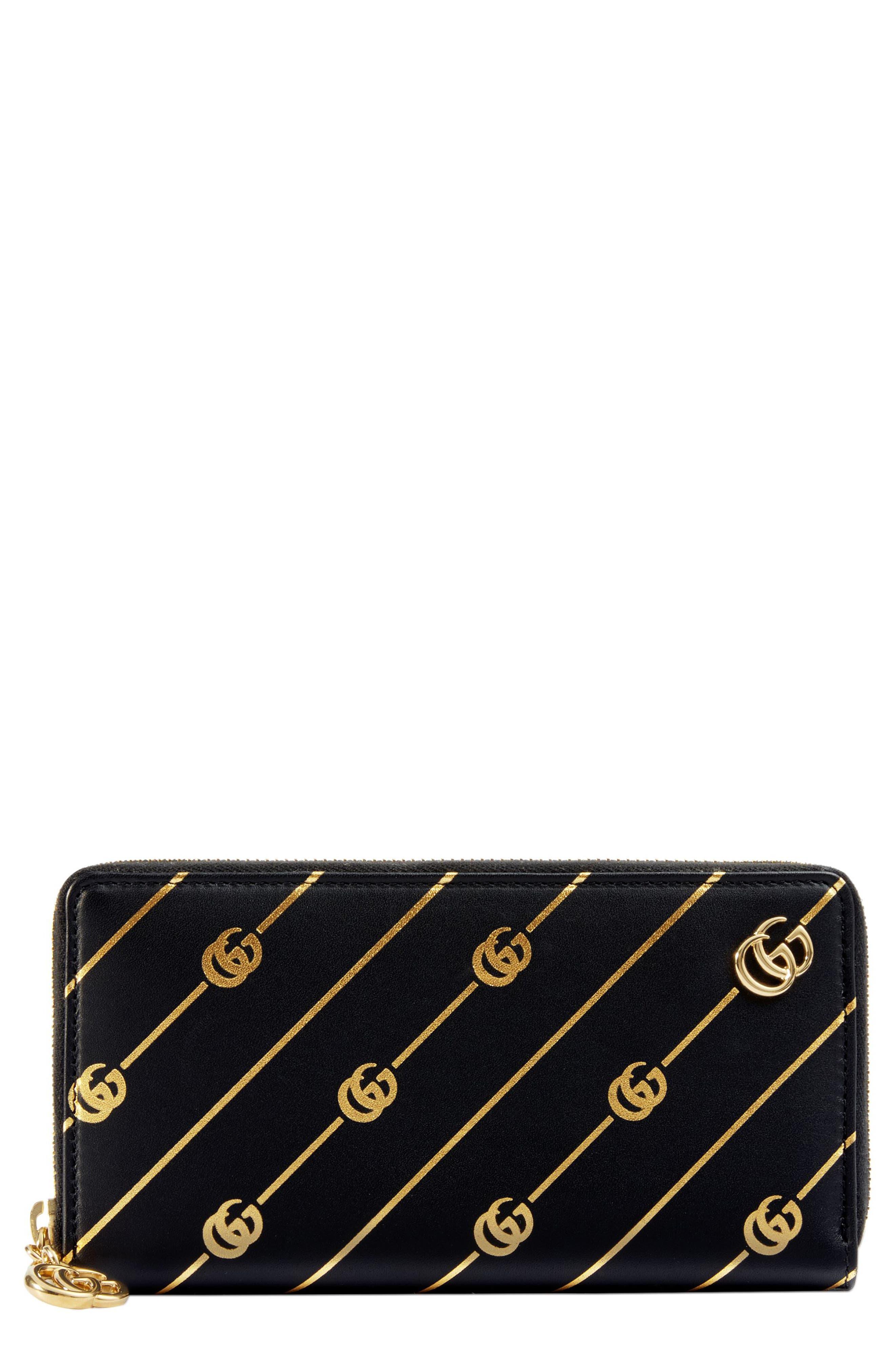 Diagonal GG Zip Around Wallet,                             Main thumbnail 1, color,                             NERO/ ORO