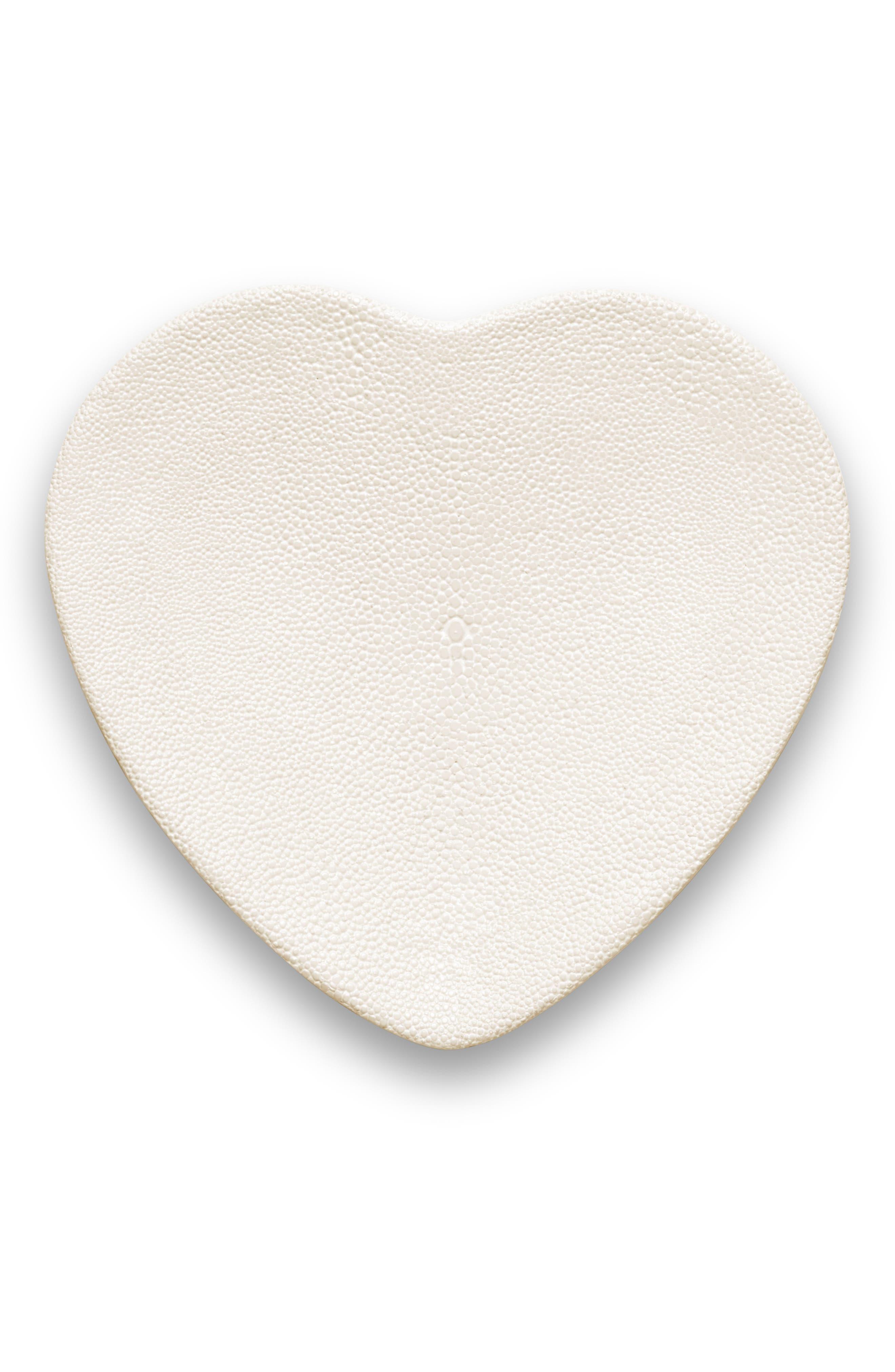 Shagreen Heart Trinket Tray,                         Main,                         color, CREAM