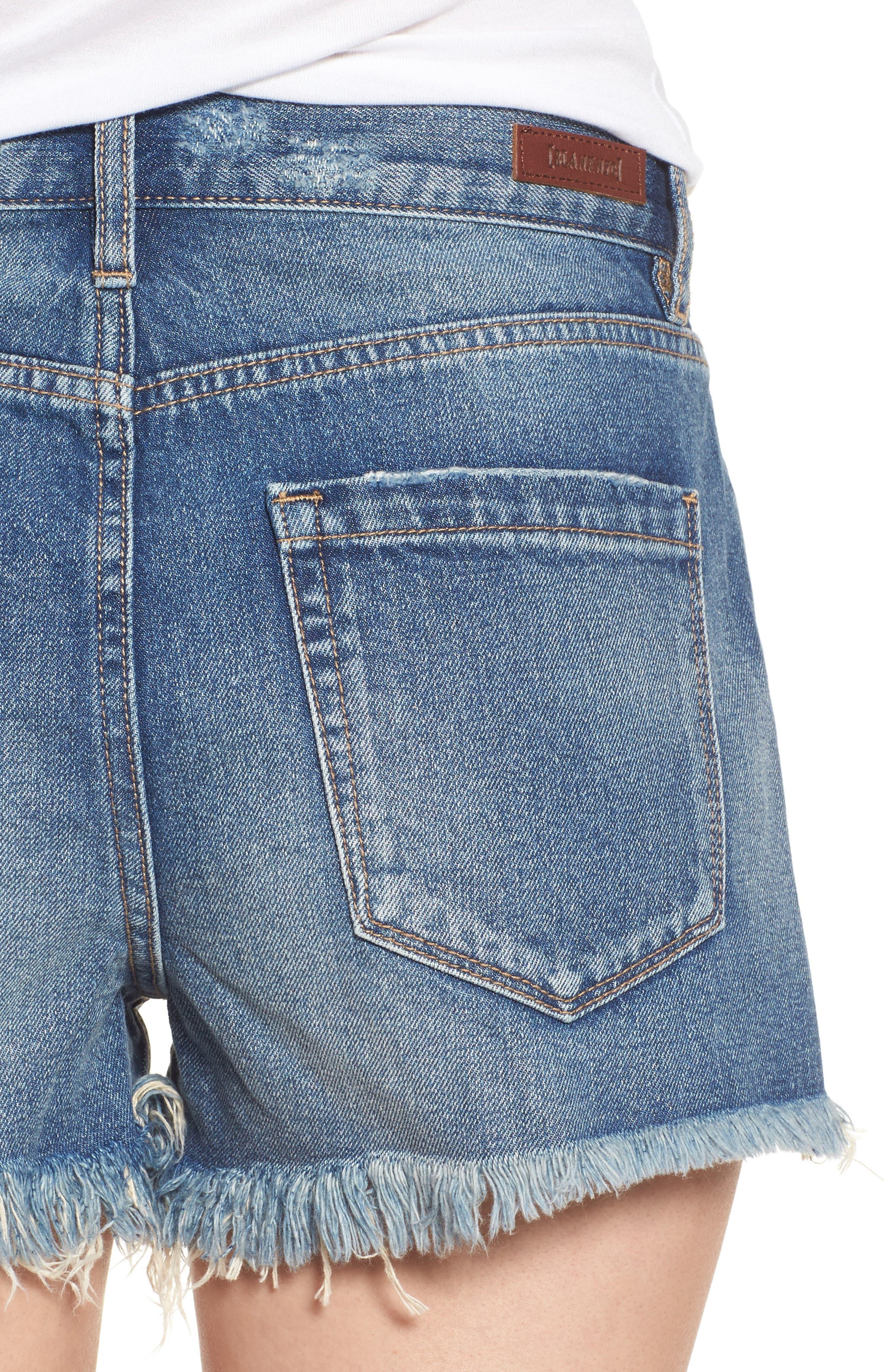 Pin-Up Distressed Denim Shorts,                             Alternate thumbnail 4, color,                             400