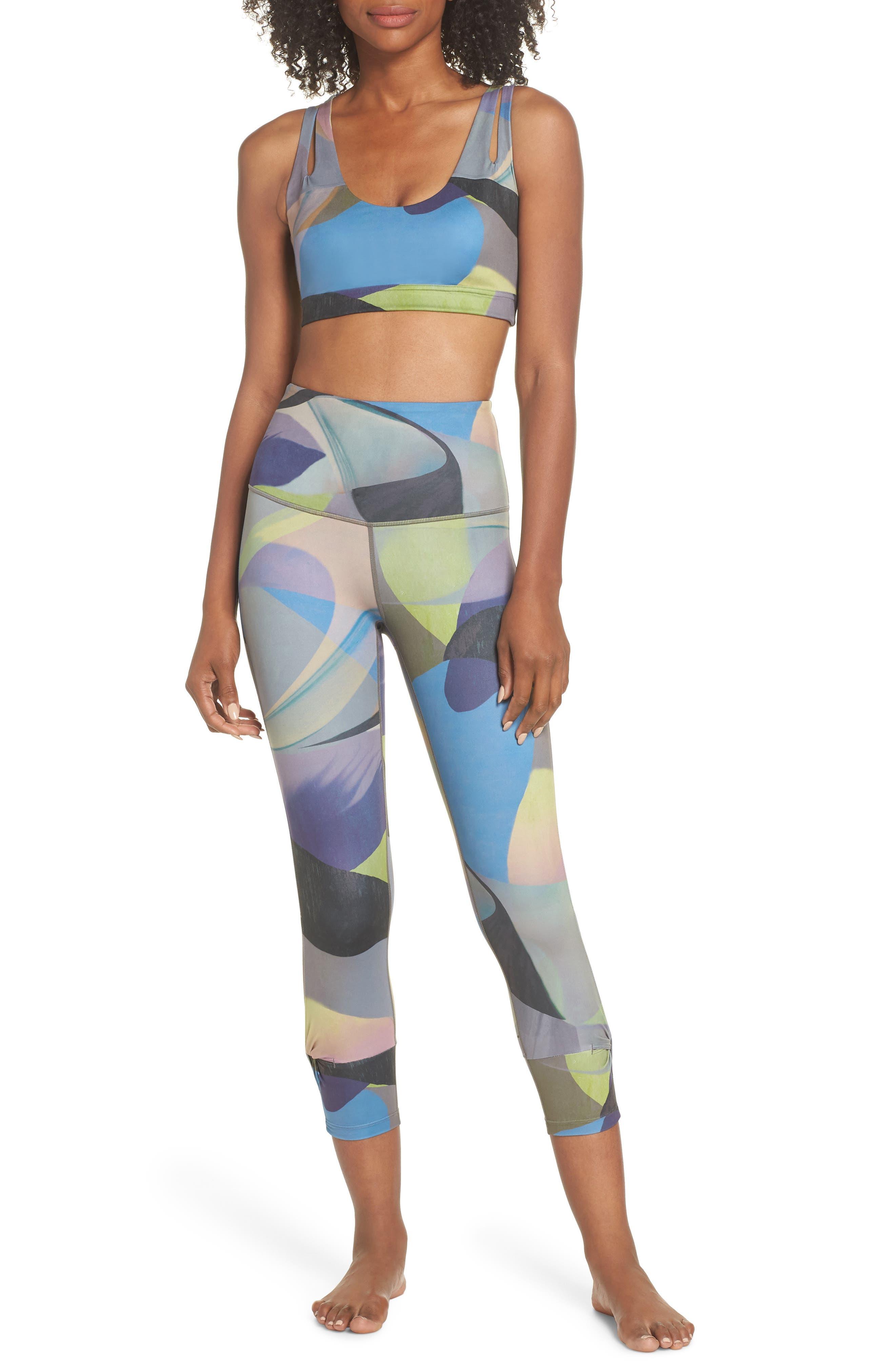 Katya High Waist Abstract Print Recycled Crop Leggings,                             Alternate thumbnail 8, color,                             GREY URBAN ABSTRACT BOTANICAL