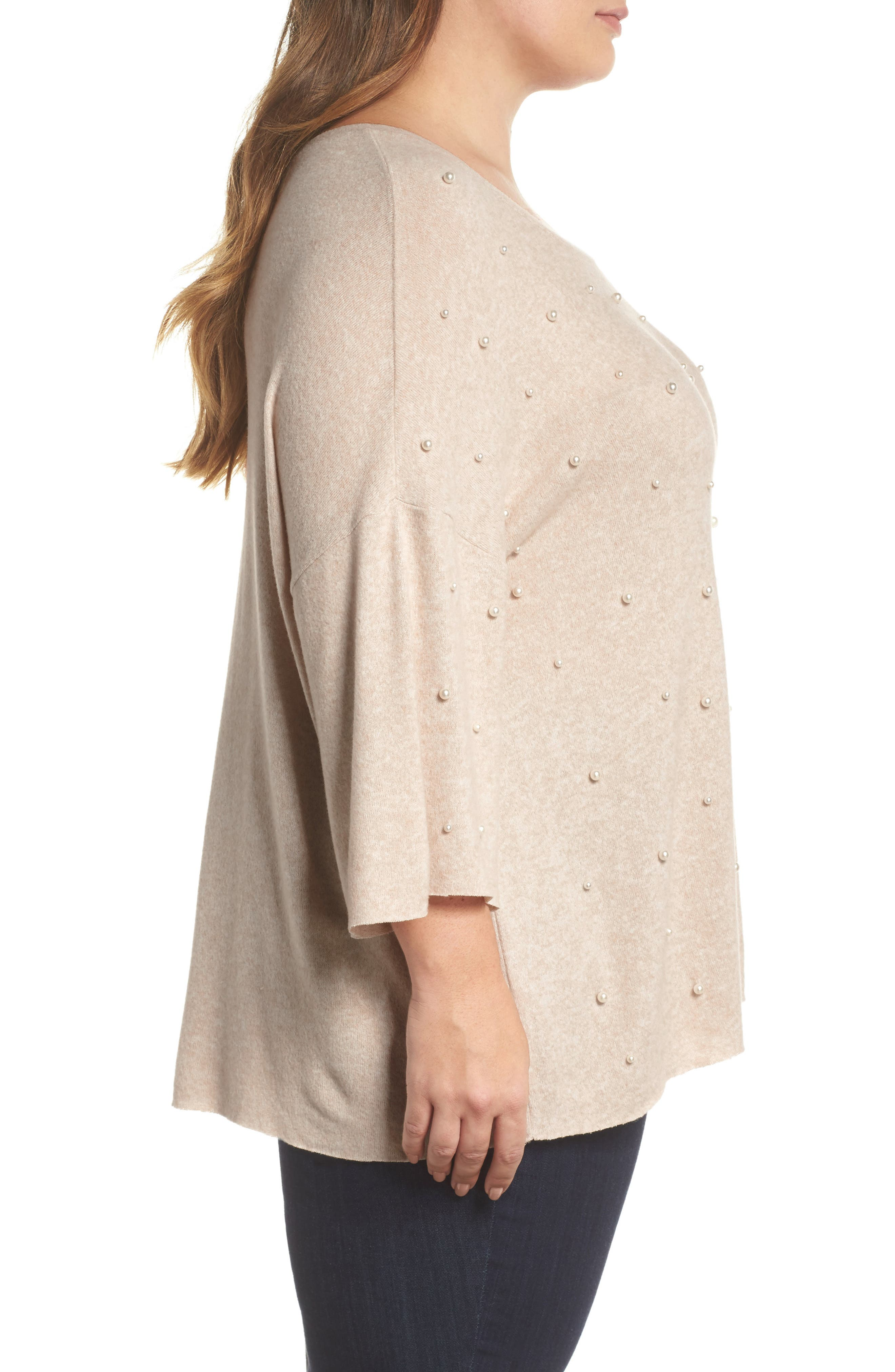 Pearl Embellished Sweater,                             Alternate thumbnail 6, color,