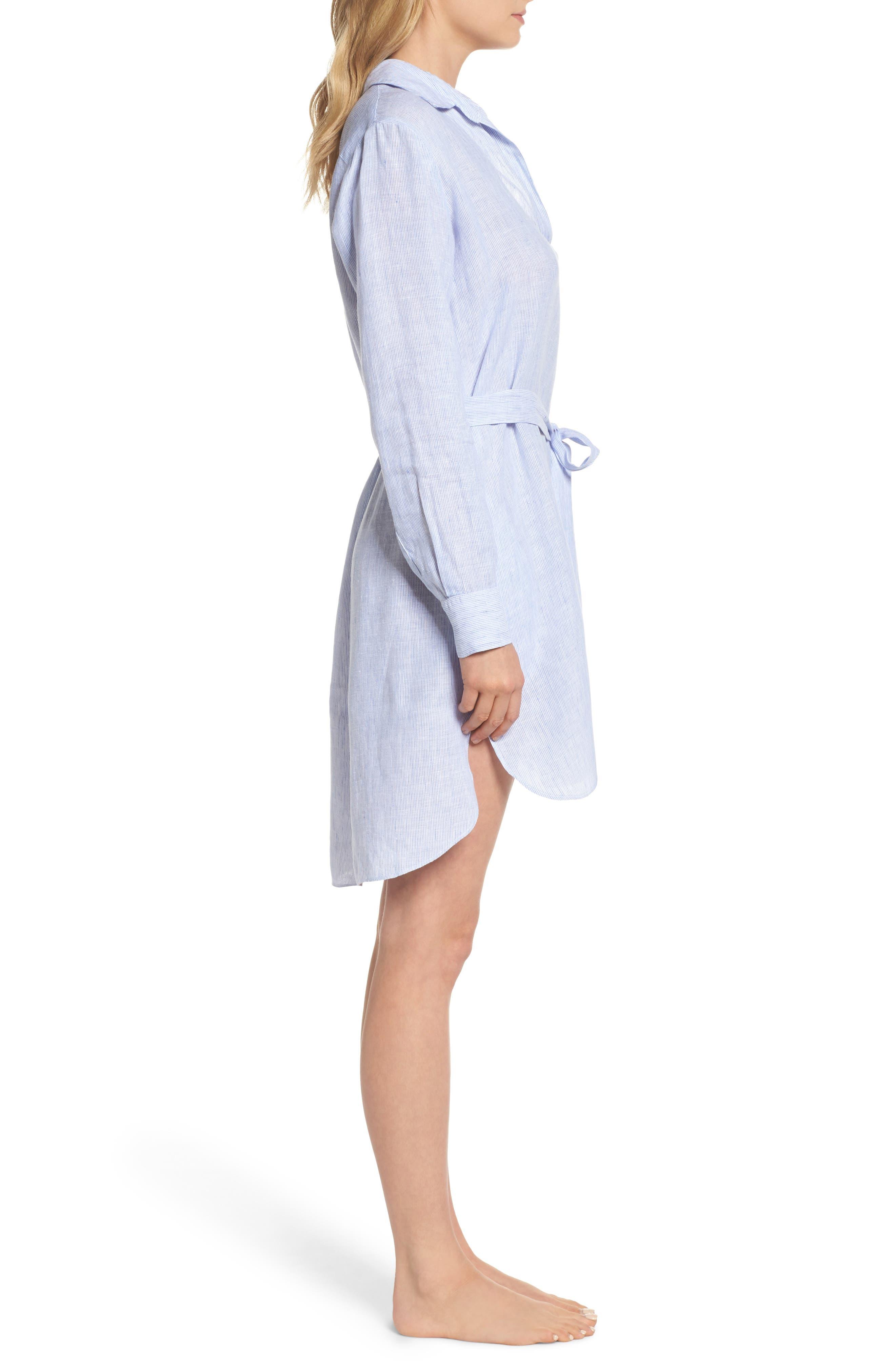 Linen Shirtdress,                             Alternate thumbnail 3, color,                             400