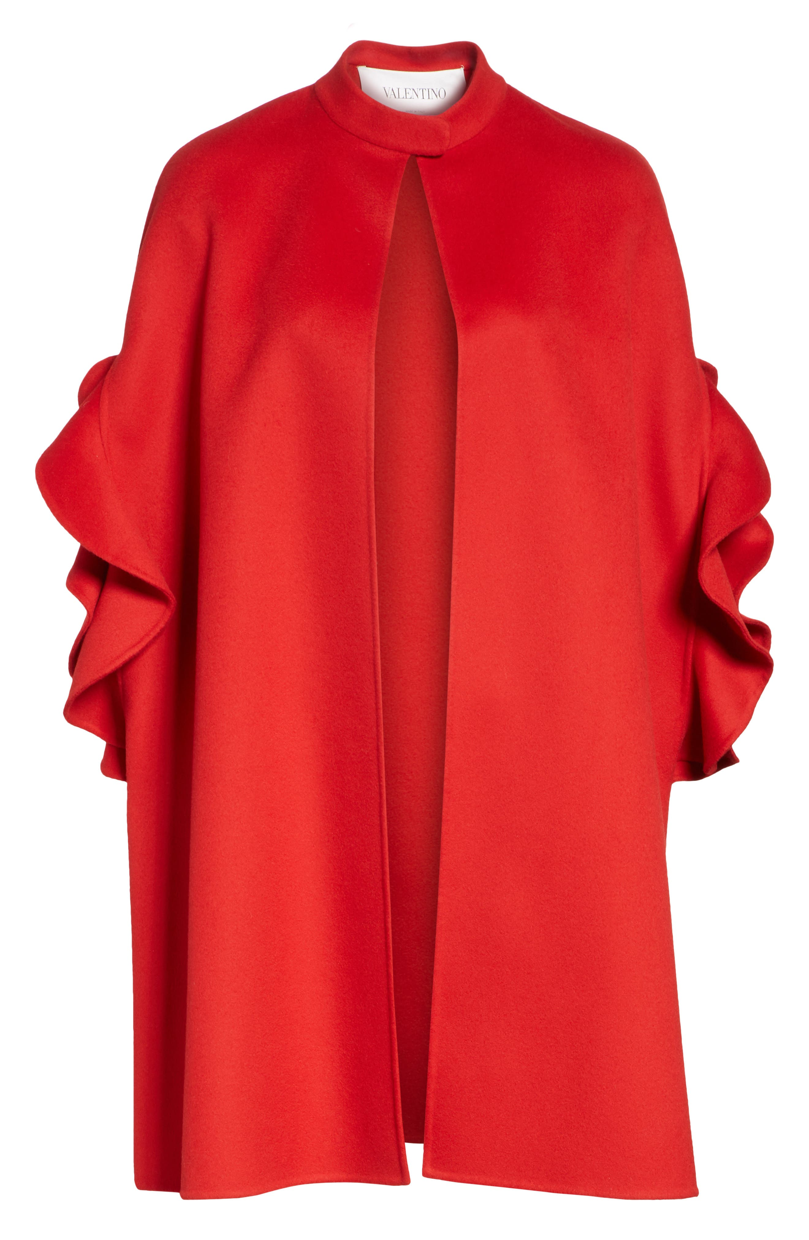 Ruffle Sleeve Compact Wool & Cashmere Cape,                             Alternate thumbnail 6, color,                             RED