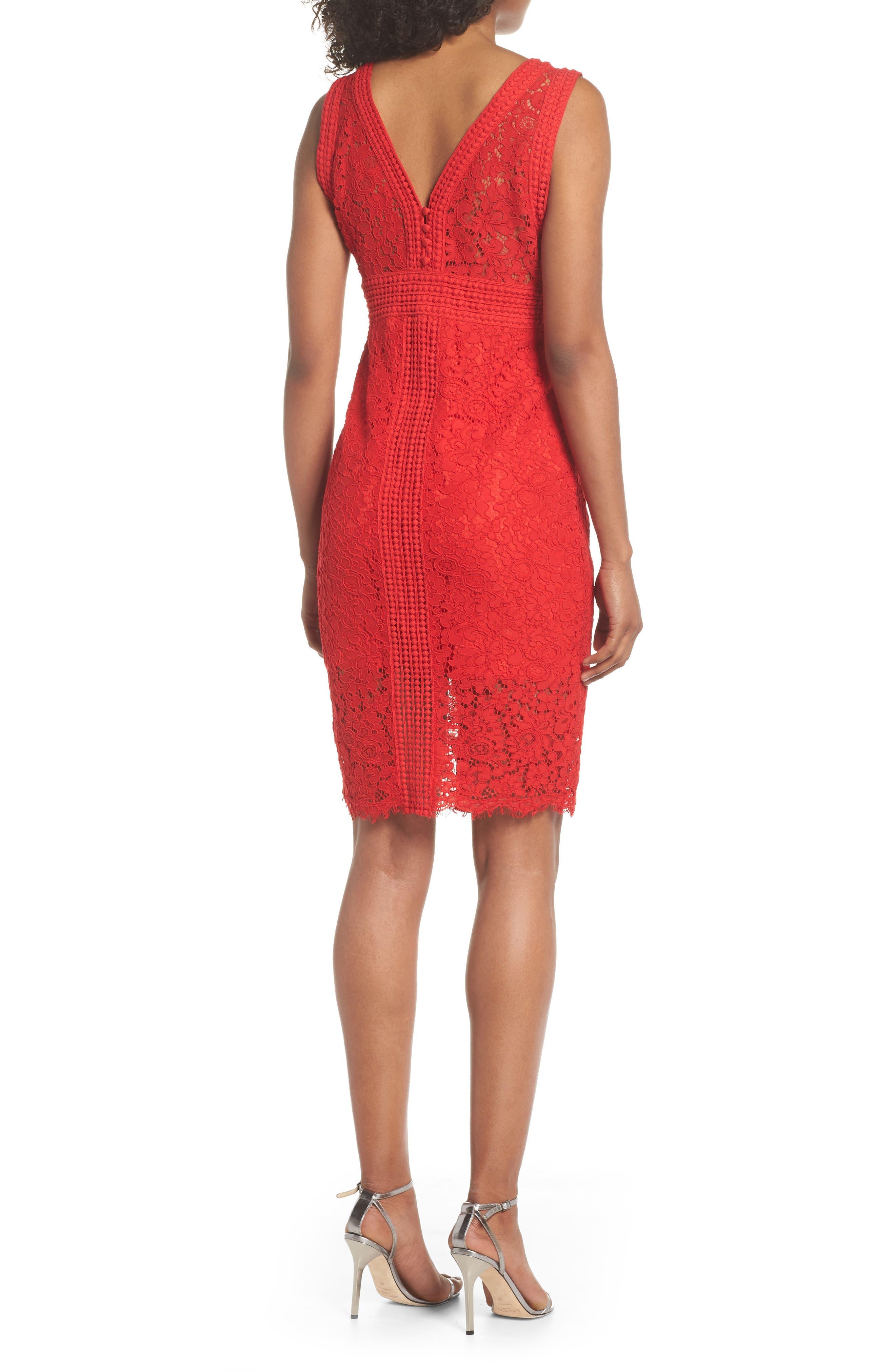 Morgan Front Slit Lace Sheath Dress,                             Alternate thumbnail 2, color,                             LIPSTICK