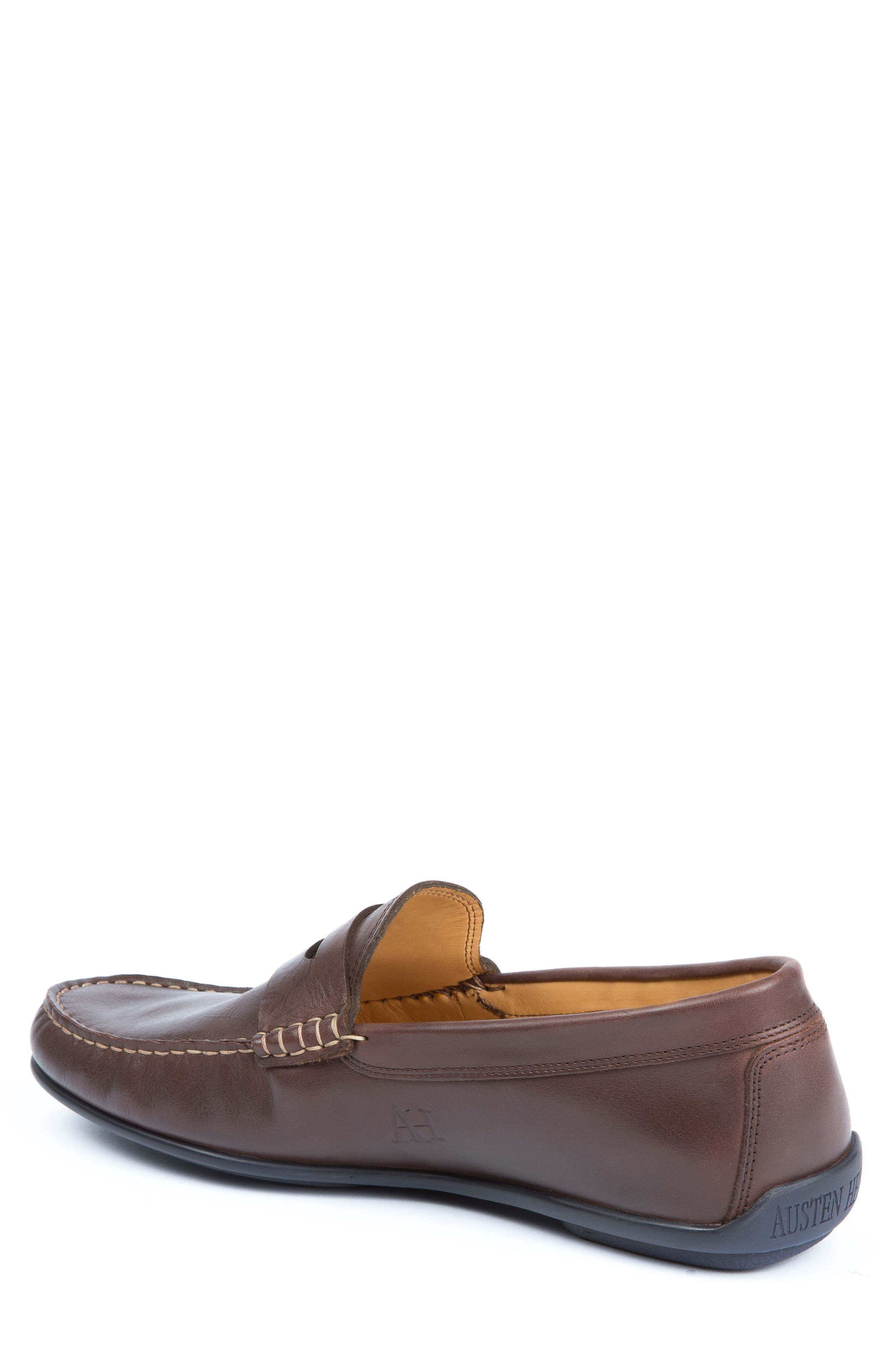 'Strattons' Driving Shoe,                             Alternate thumbnail 2, color,                             BROWN LEATHER/ NAVY