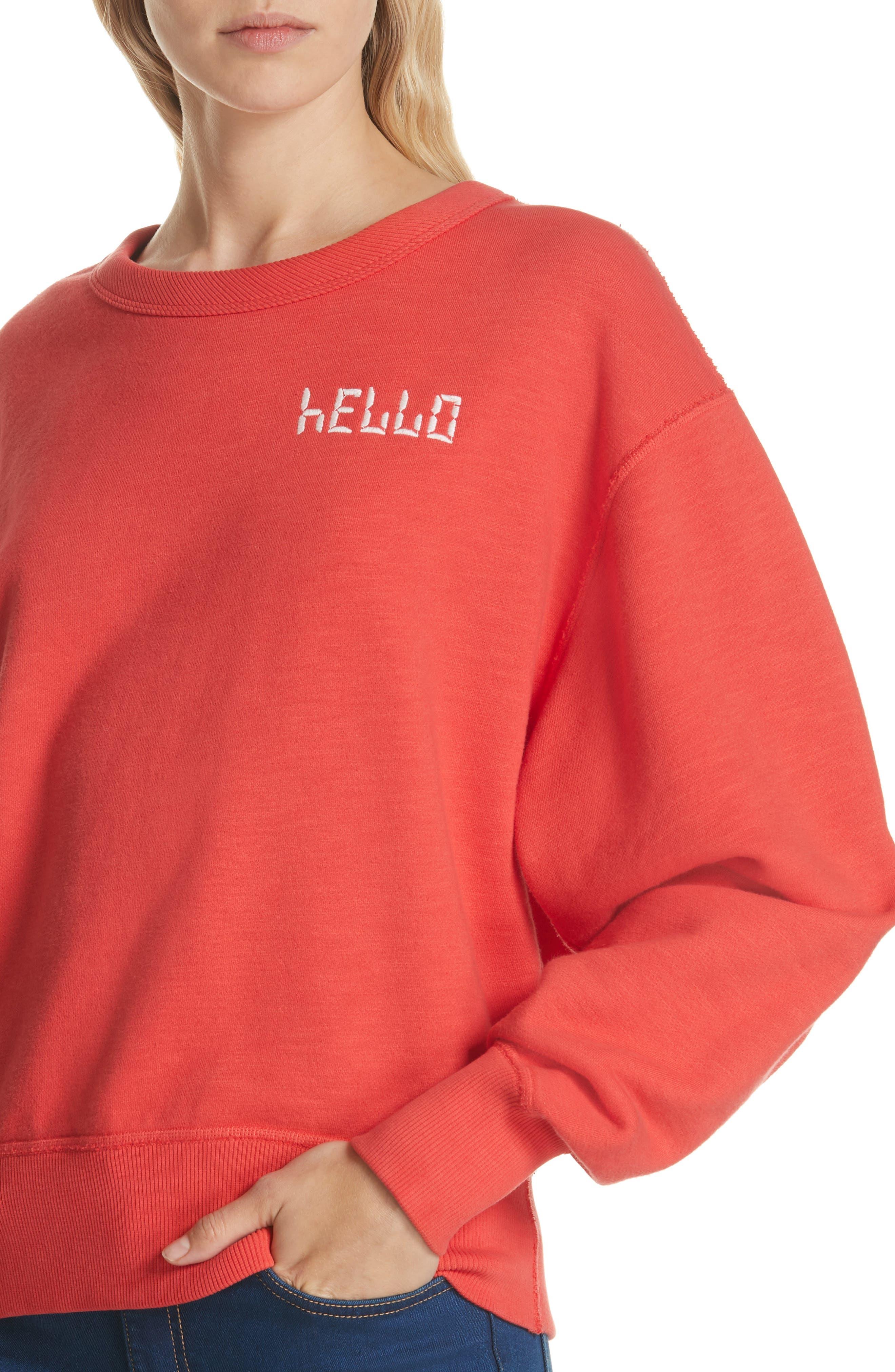 Hello Sweatshirt,                             Alternate thumbnail 4, color,                             CANDY APPLE
