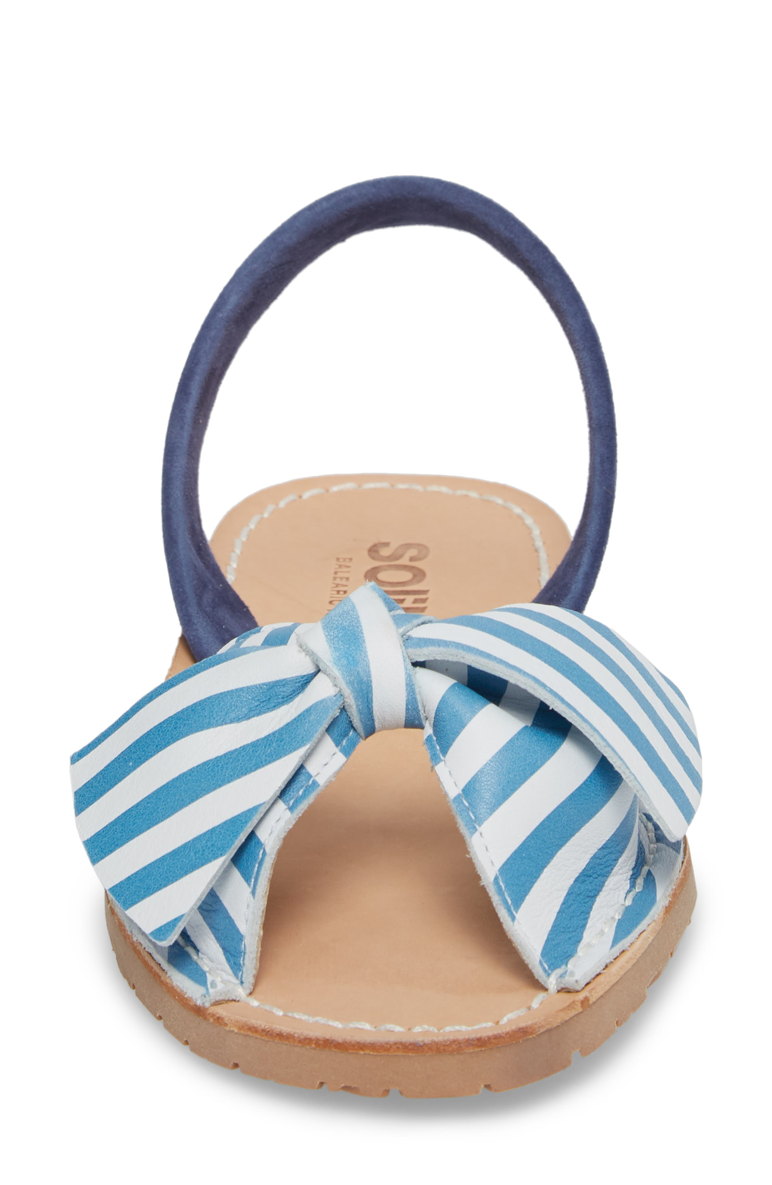 Bow Sandal,                             Alternate thumbnail 4, color,                             BLUE AND WHITE