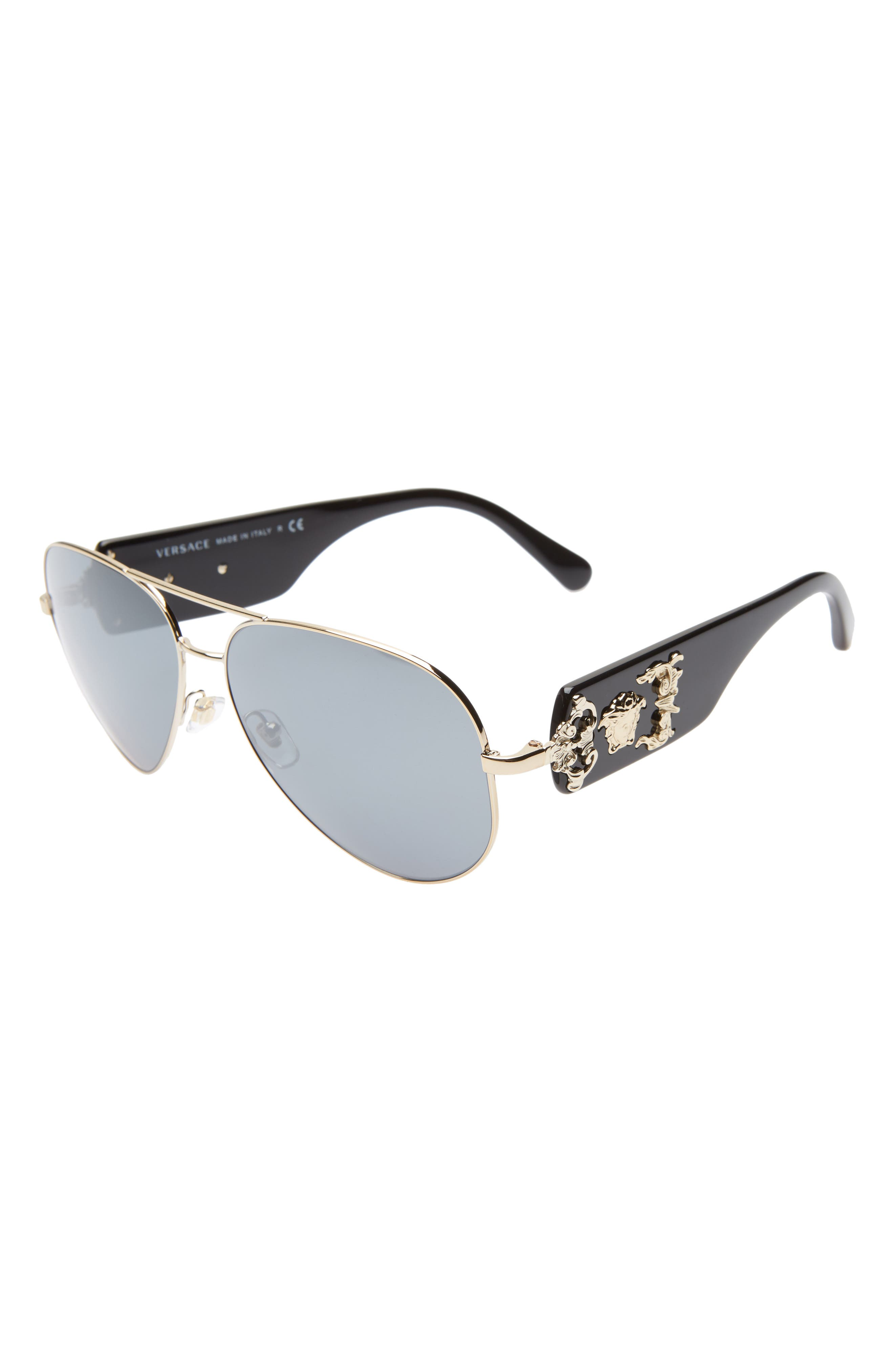 VERSACE,                             62mm Aviator Sunglasses,                             Alternate thumbnail 3, color,                             GOLD/ BLACK