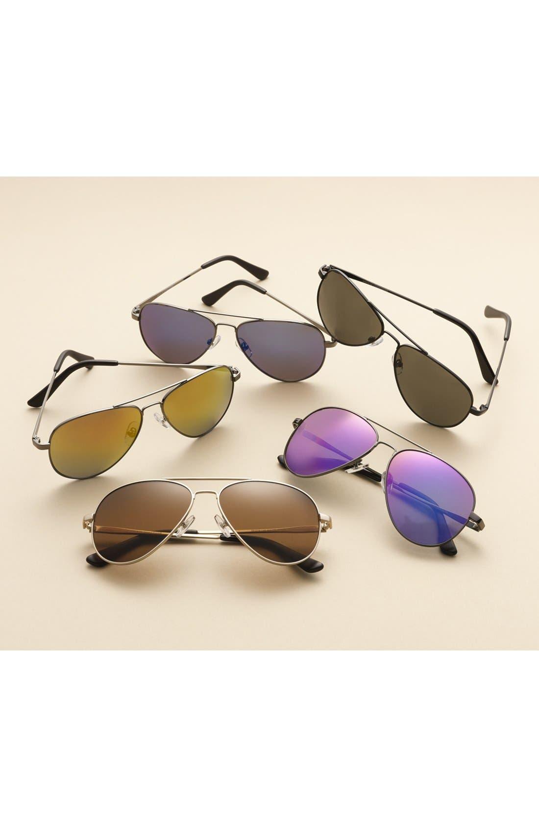 Davis 59mm Aviator Sunglasses,                             Alternate thumbnail 3, color,                             SILVER/ GREEN