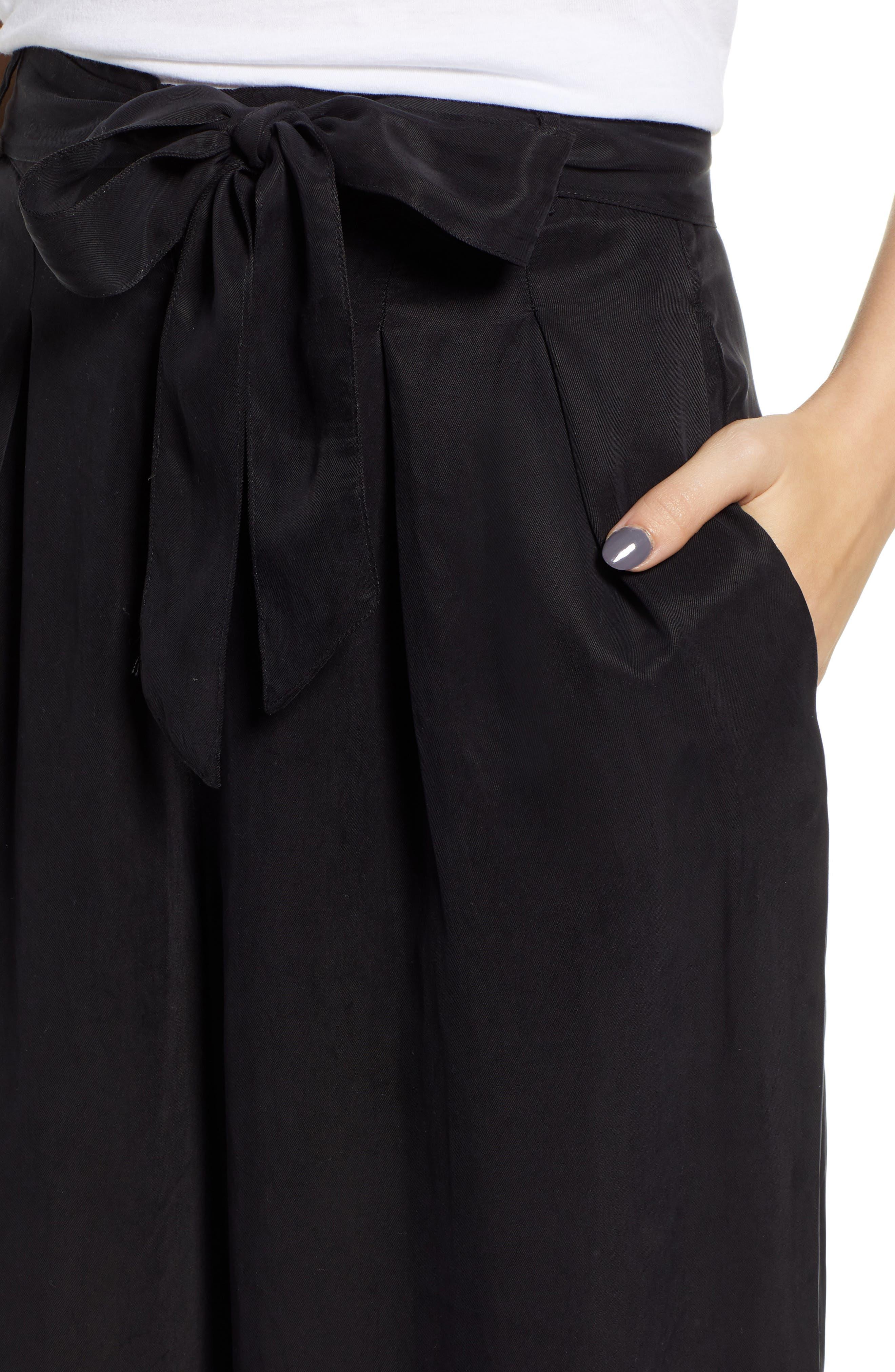 Jenna Cupro Wide Leg Pants,                             Alternate thumbnail 4, color,                             BLACK