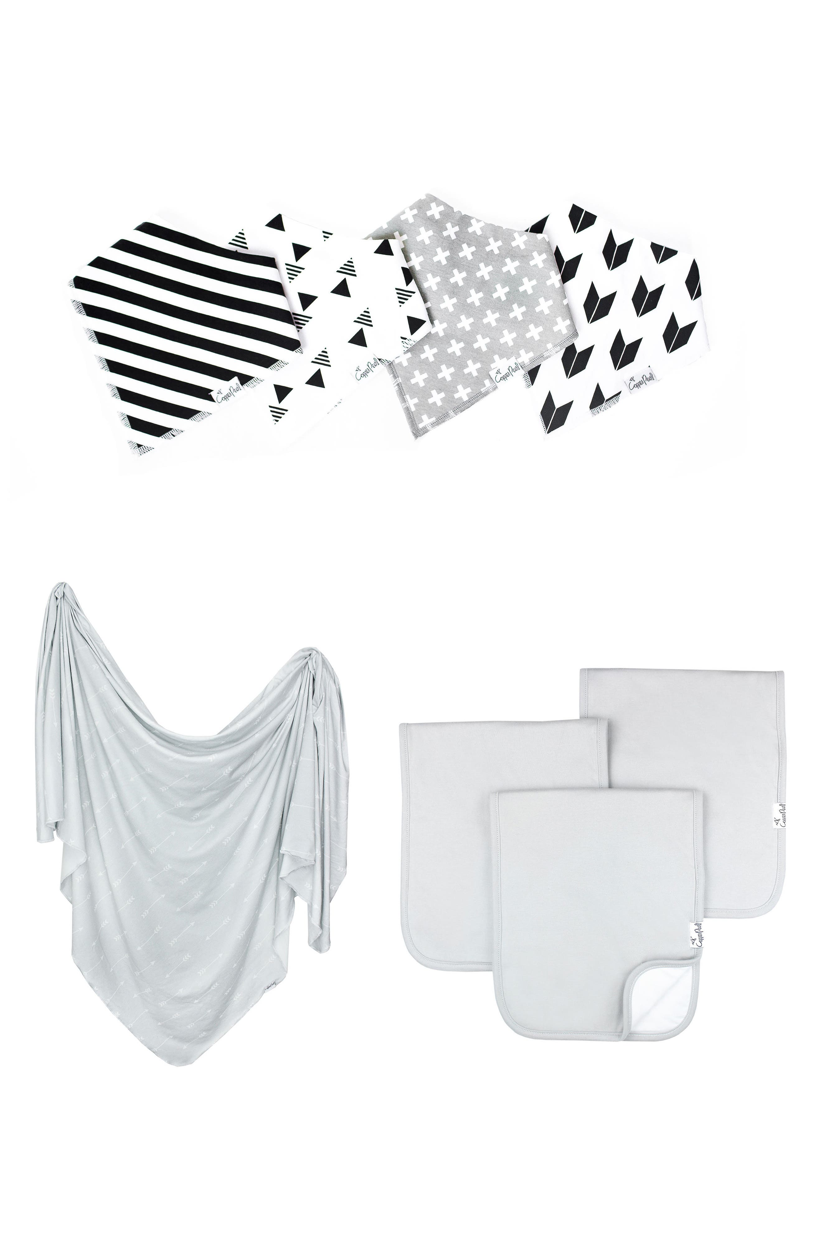 Shade Bib, Burp Cloth & Swaddle Blanket Gift Set,                         Main,                         color, SHADE