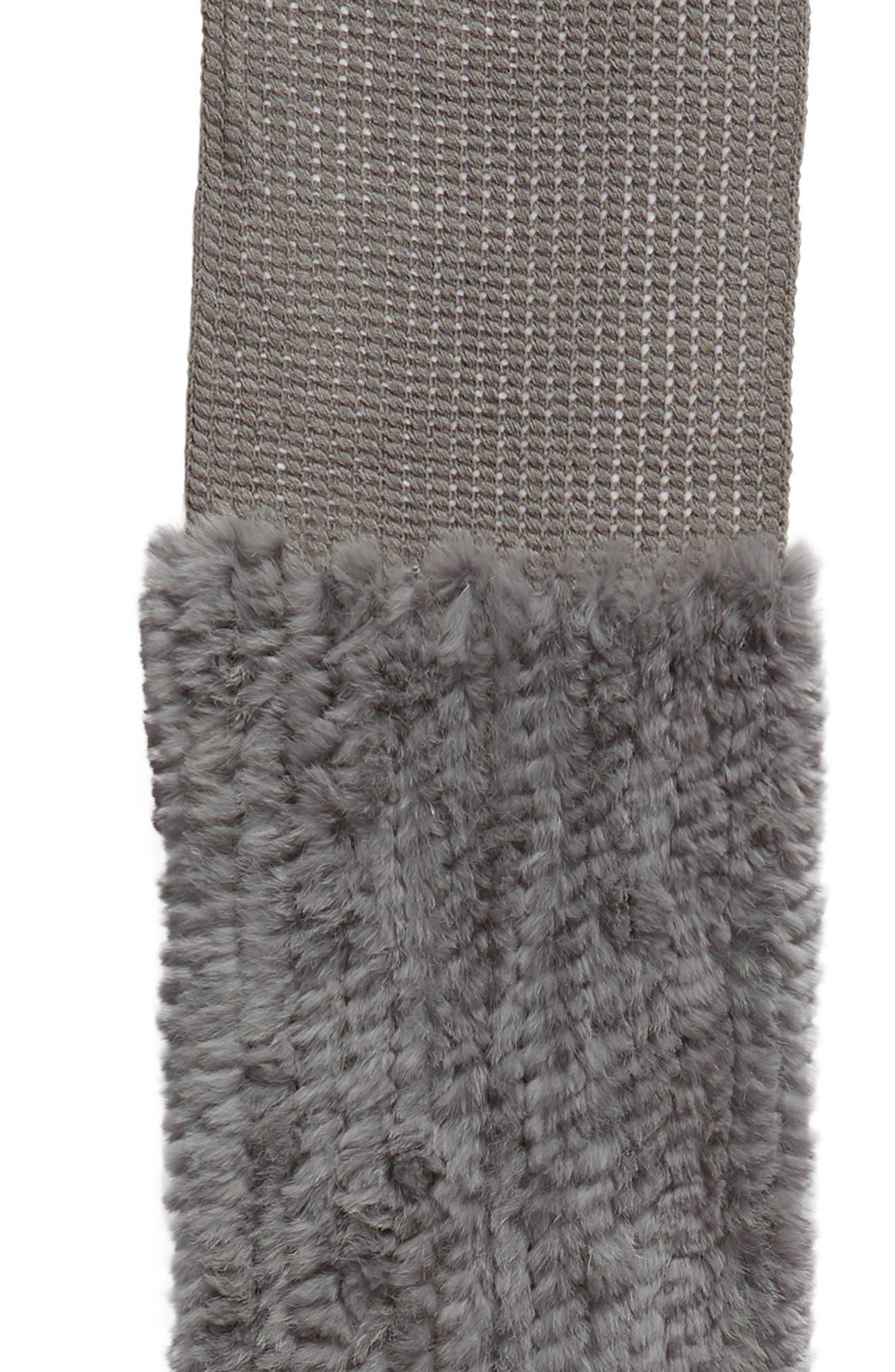 Genuine Rabbit Fur & Acrylic Knit Scarf,                             Alternate thumbnail 4, color,                             GREY