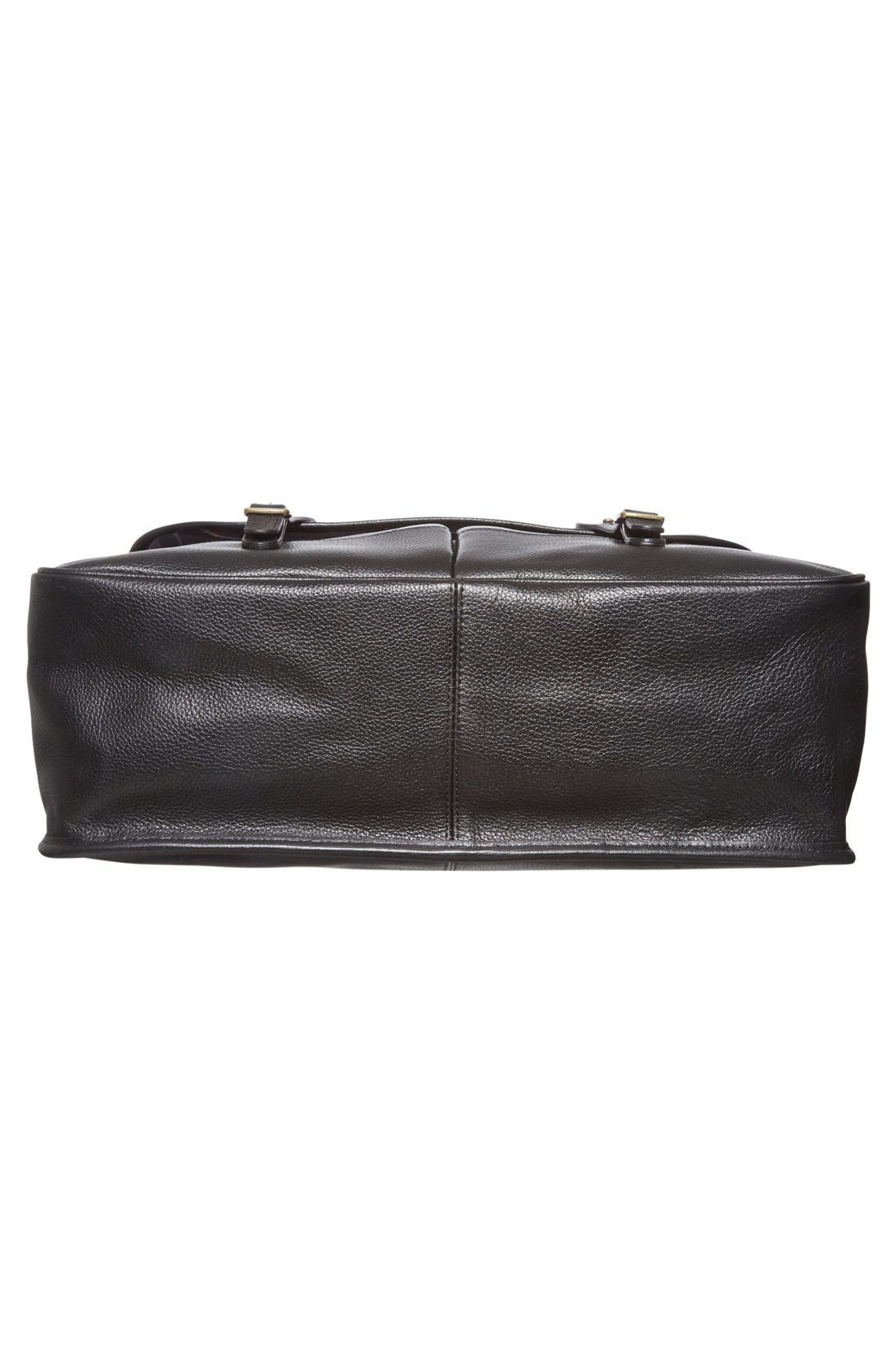 Leather Briefcase,                             Alternate thumbnail 3, color,                             BLACK