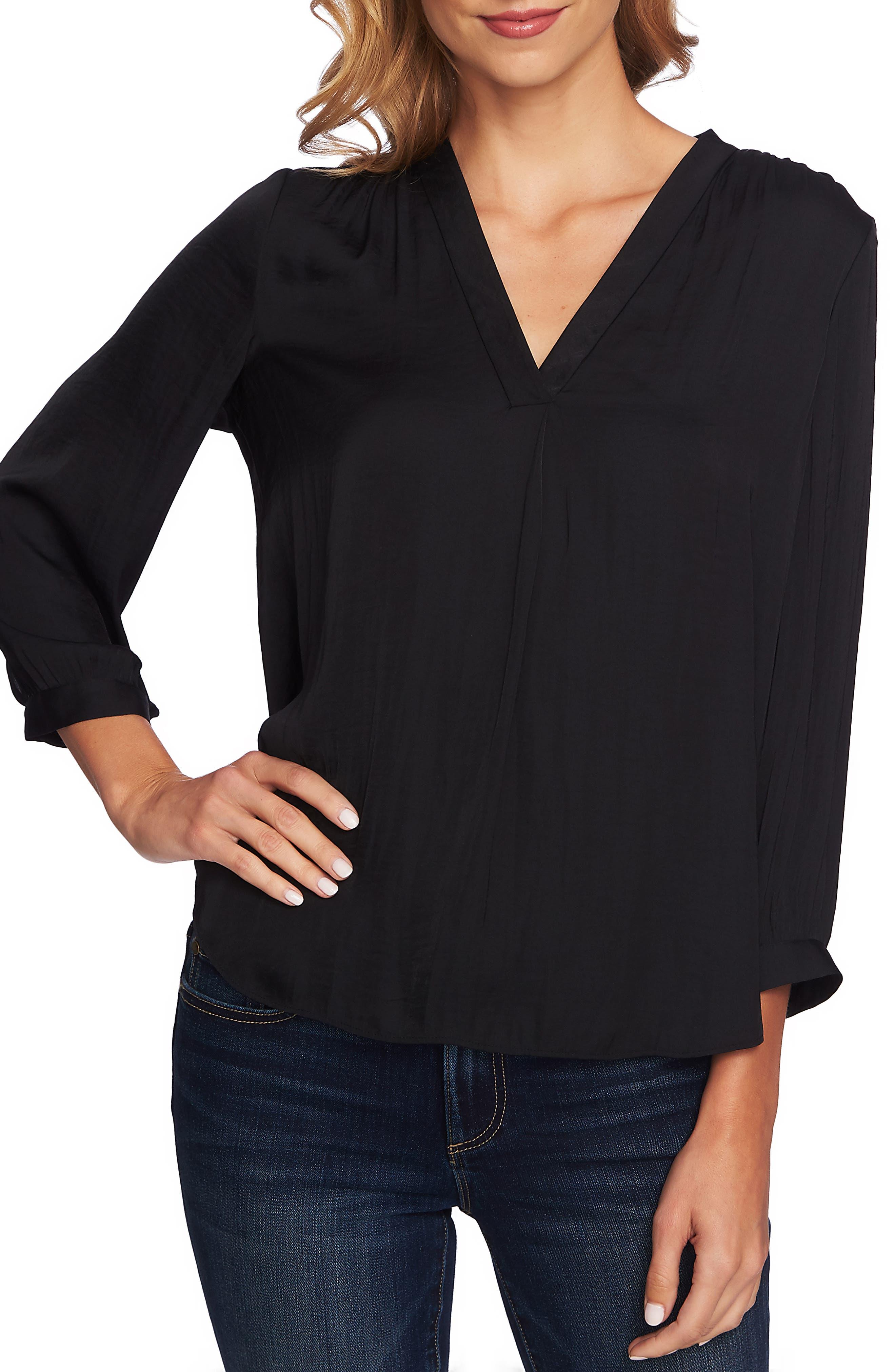 Rumple Fabric Blouse,                         Main,                         color, RICH BLACK