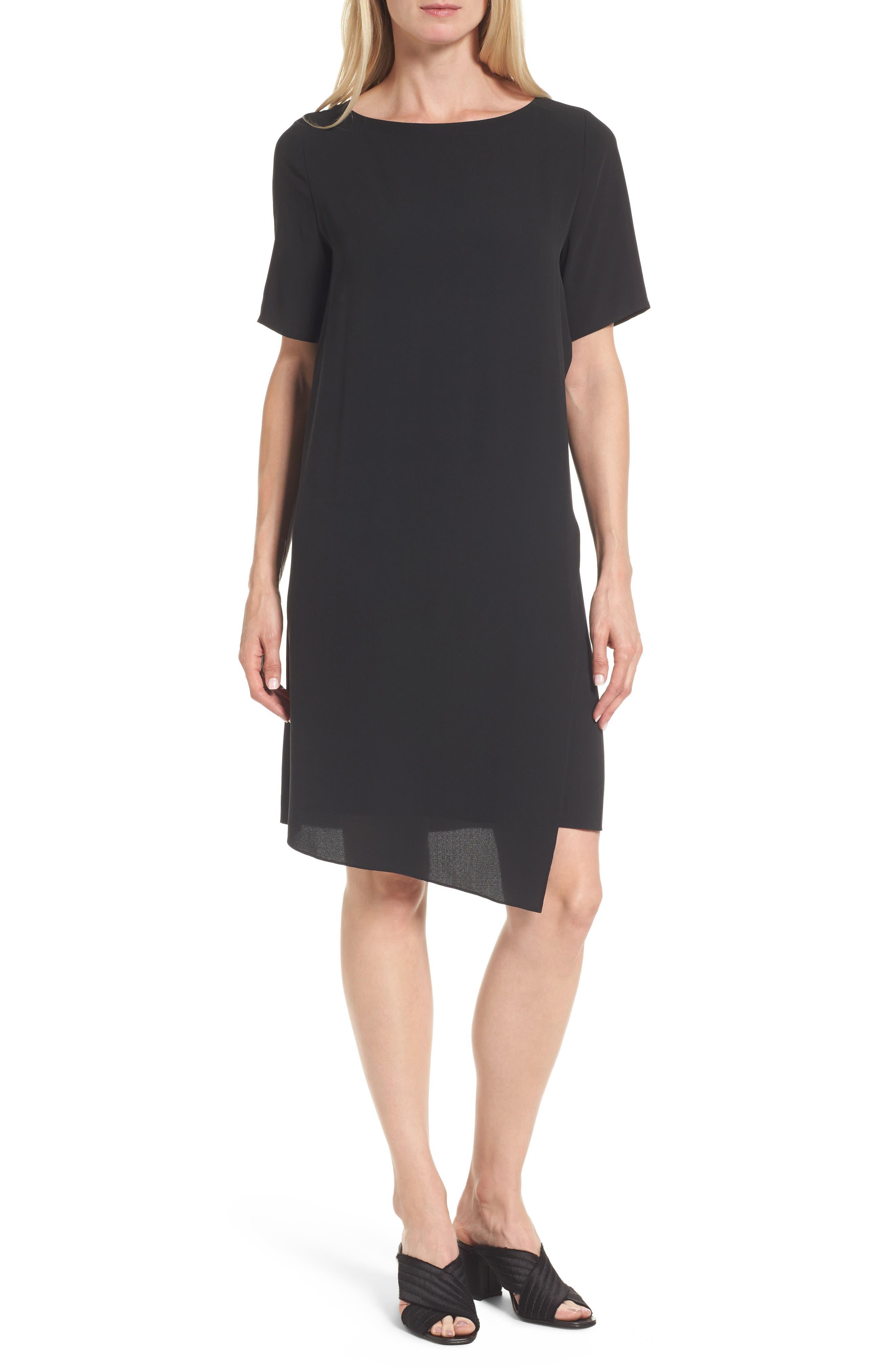 Asymmetrical Silk Shift Dress,                             Main thumbnail 1, color,                             001