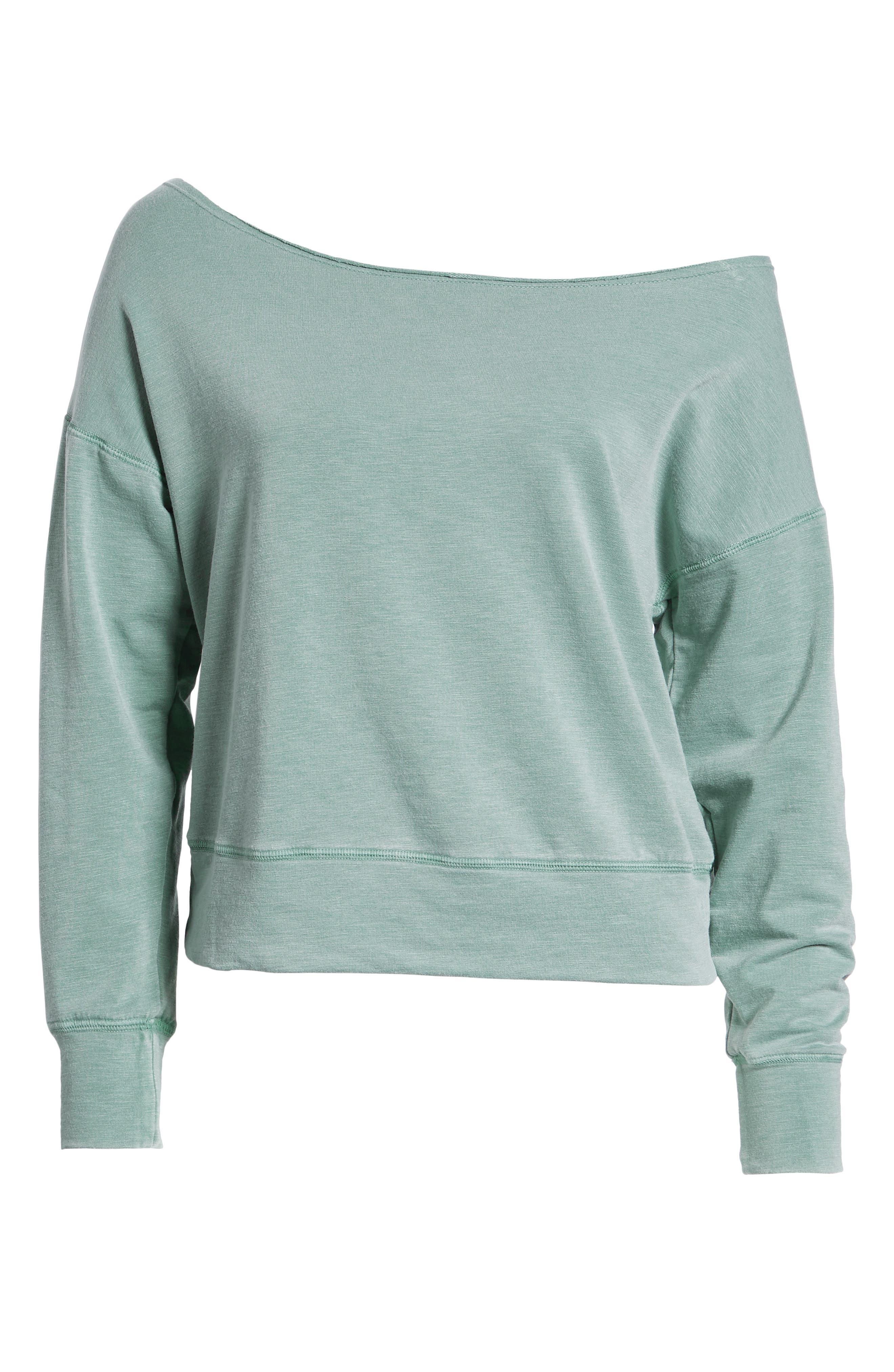 Off the Shoulder Sweatshirt,                             Alternate thumbnail 7, color,                             PIGMENT BASIL