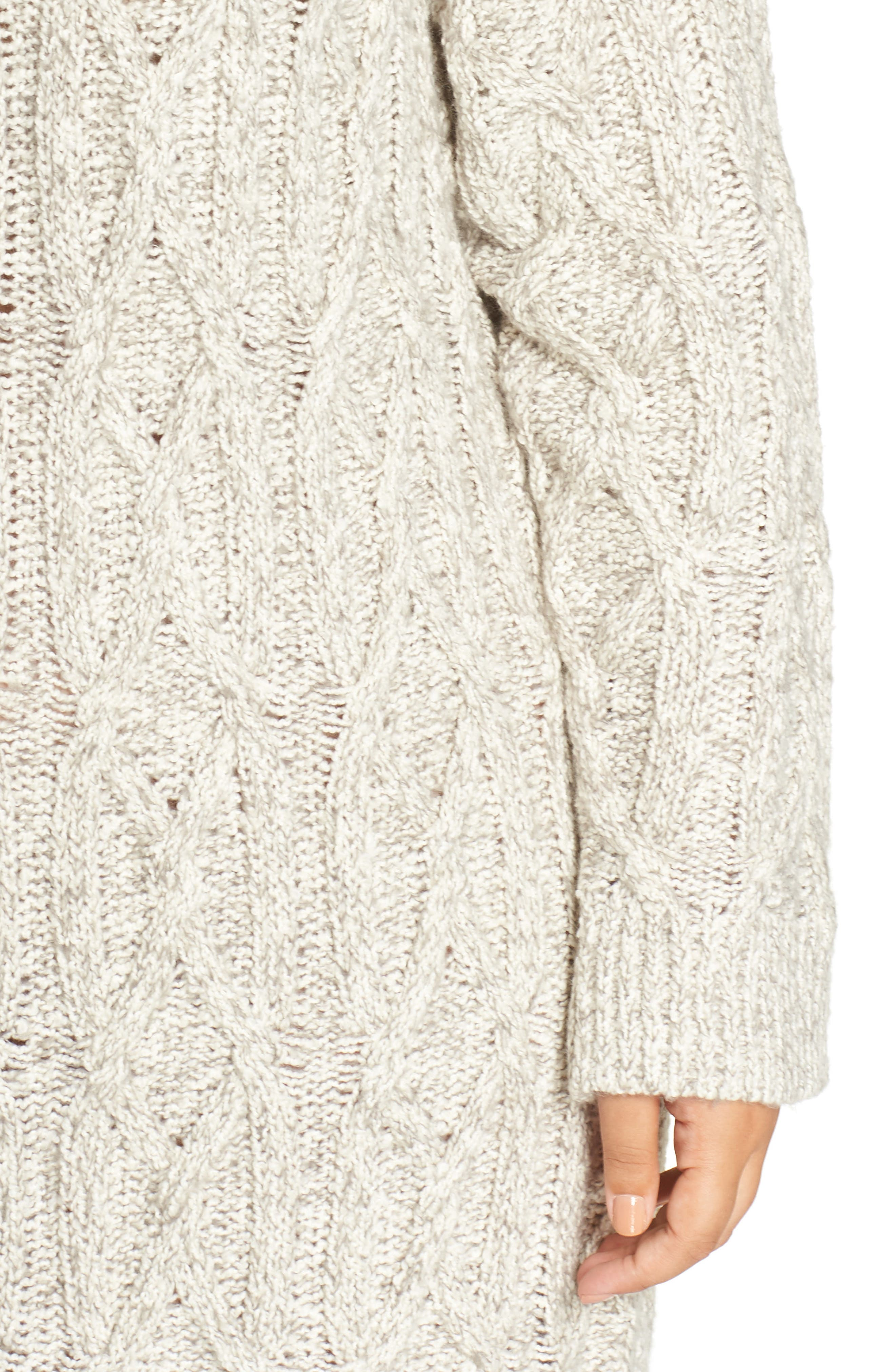 Cable Knit Sweater Dress,                             Alternate thumbnail 4, color,                             GREY PEARL MARL
