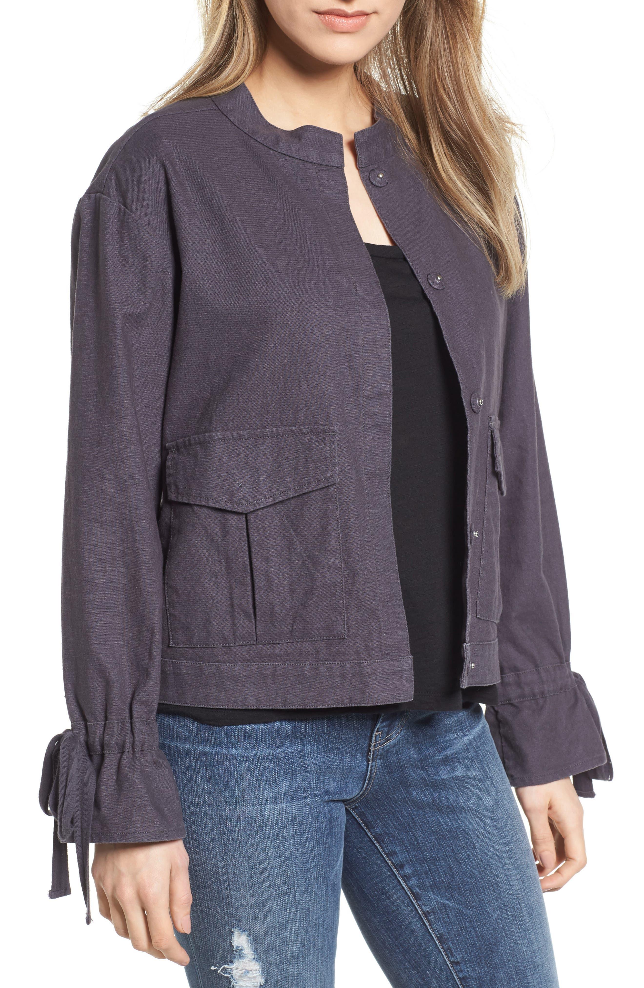 Tie Sleeve Linen & Cotton Jacket,                             Main thumbnail 1, color,                             030