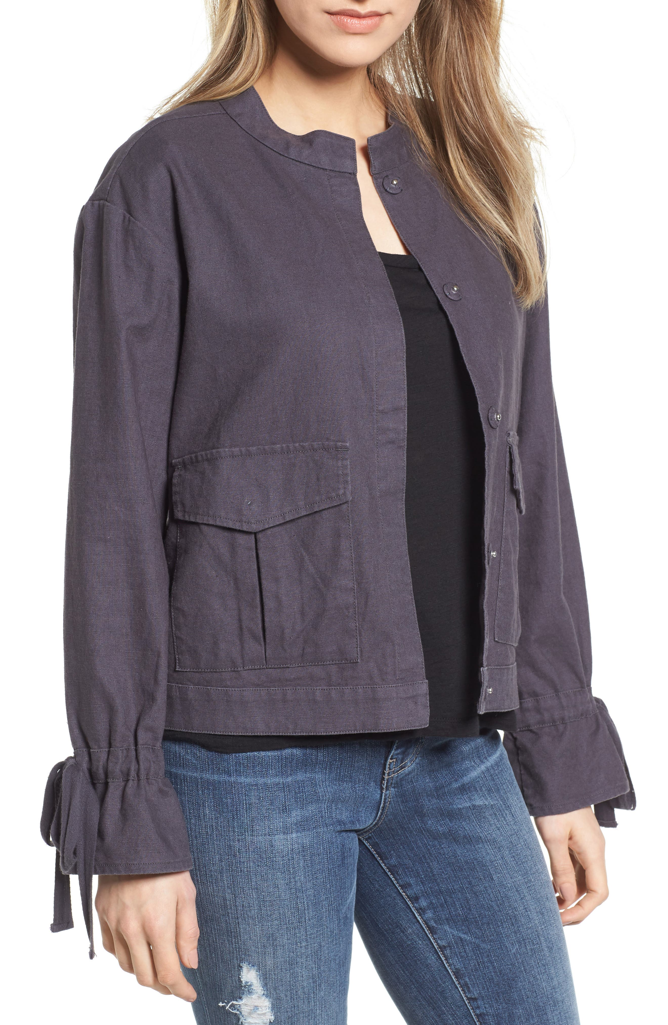 Tie Sleeve Linen & Cotton Jacket,                         Main,                         color, 030
