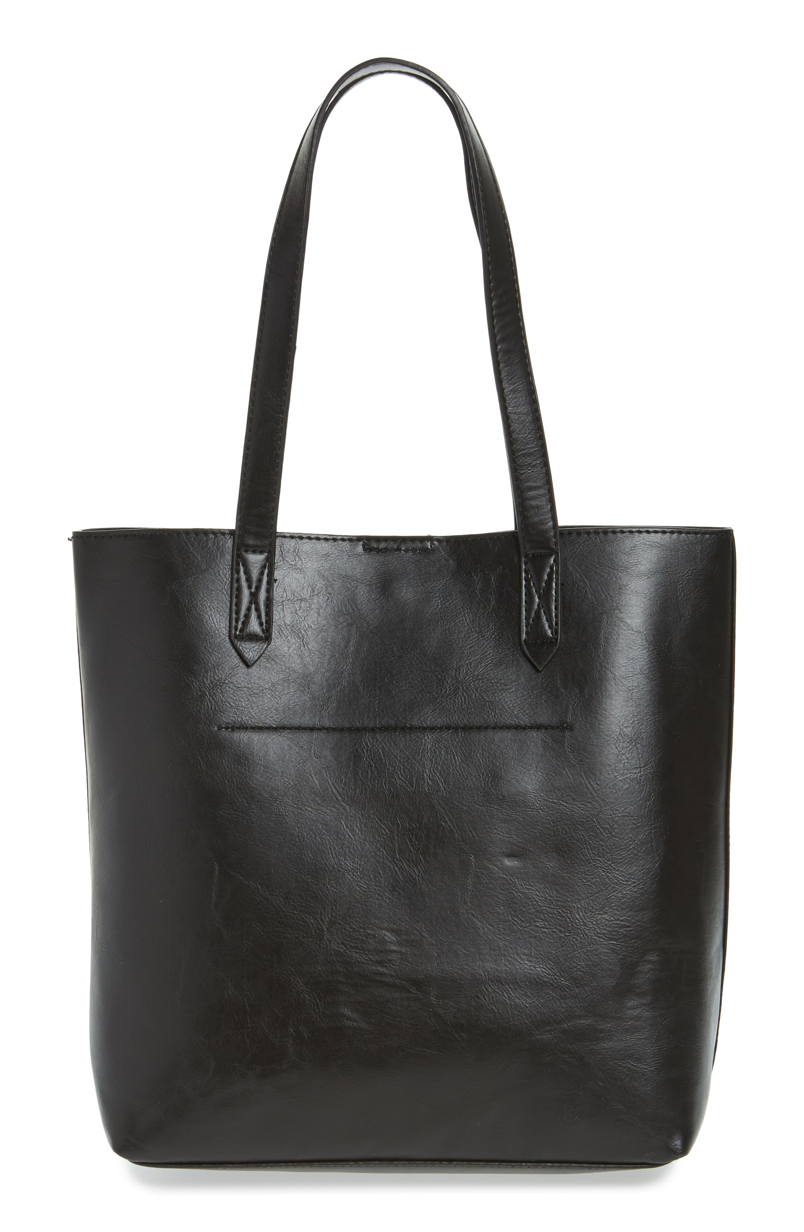 Trish Faux Leather Tote,                             Alternate thumbnail 3, color,                             001