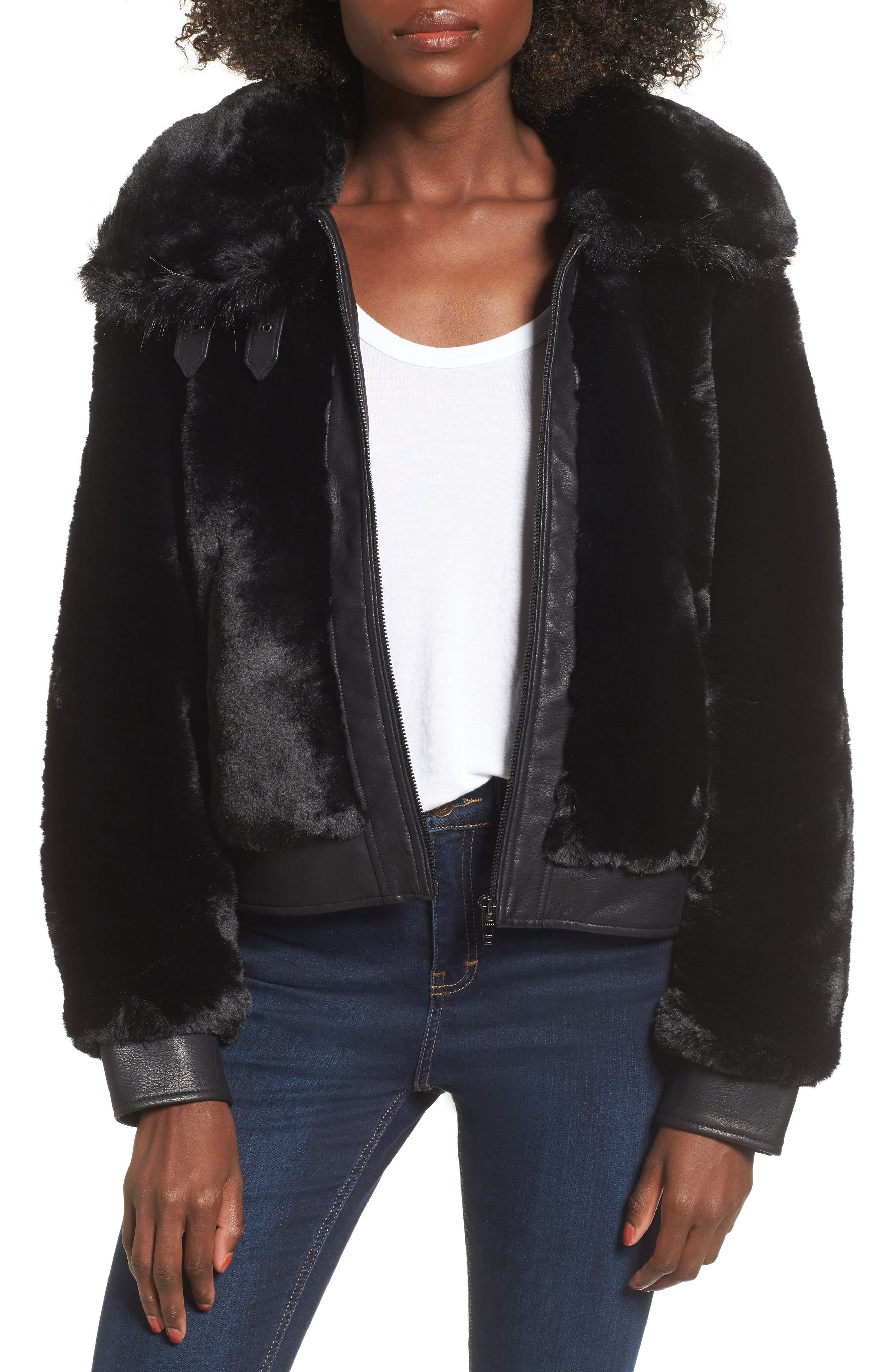 Faux Fur Jacket, Main, color, BLACK NOISE