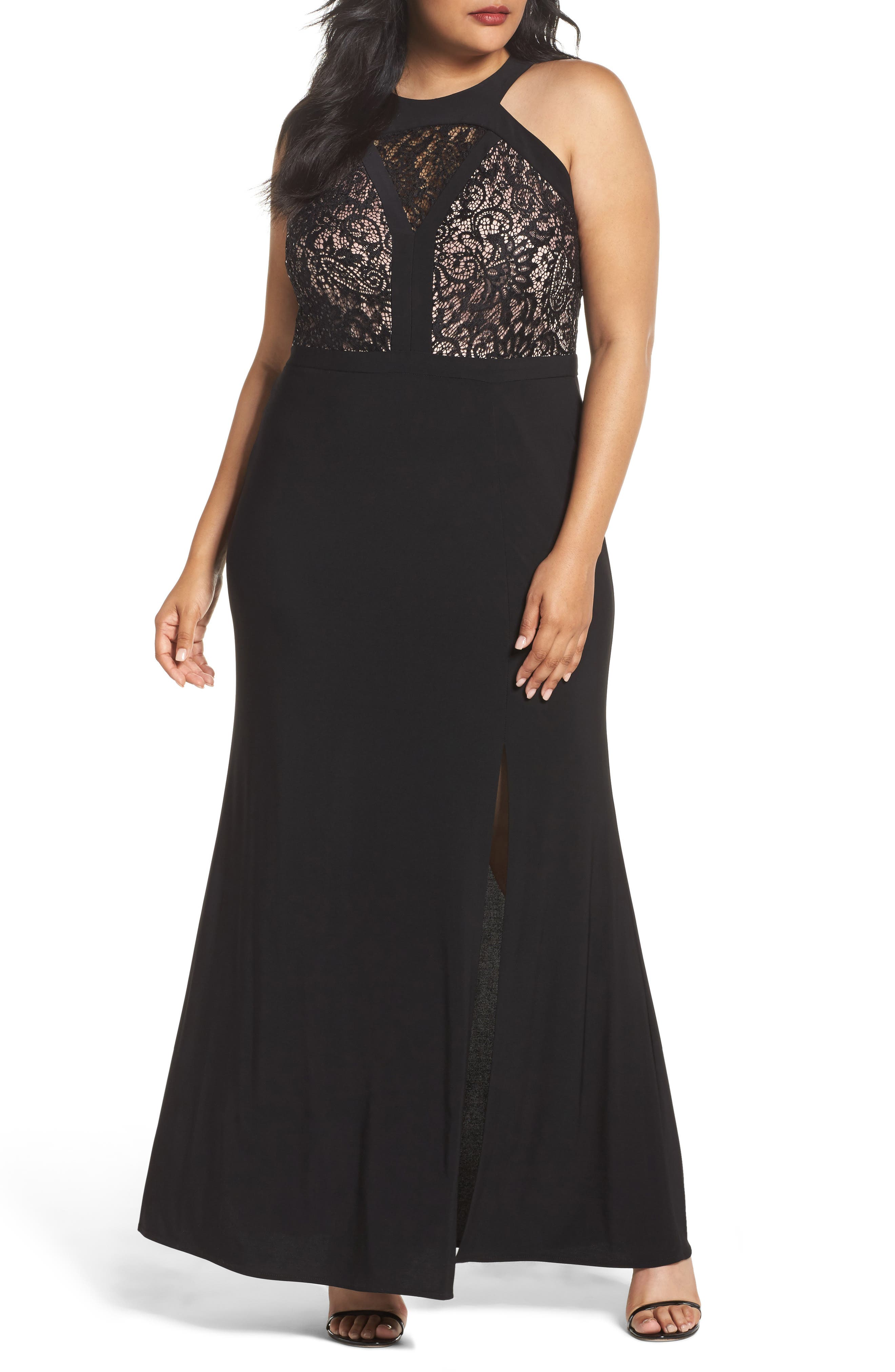 MORGAN & CO.,                             Lace Bodice Dress,                             Main thumbnail 1, color,                             BLACK/ NUDE