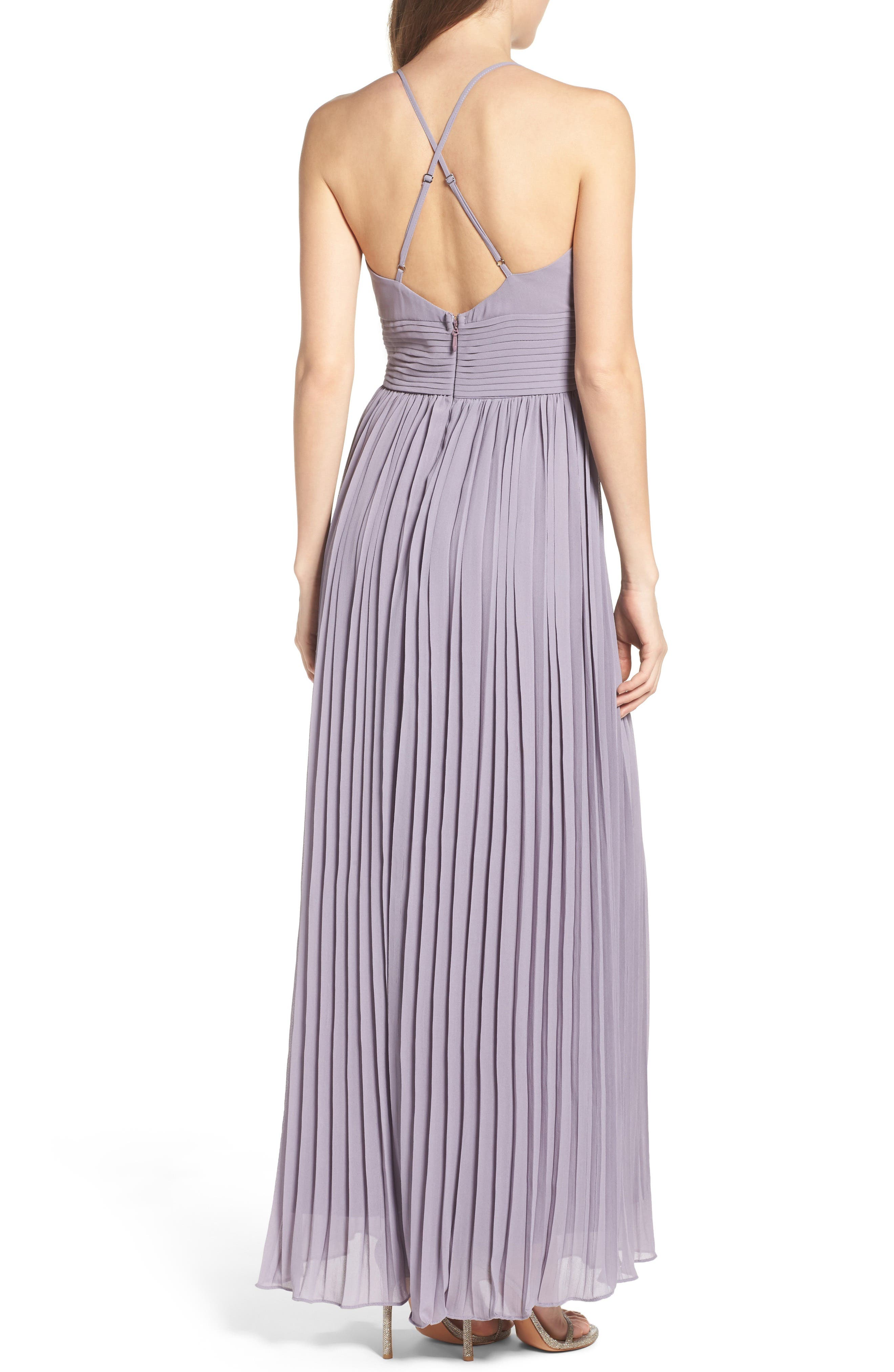 Plunging V-Neck Pleat Georgette Gown,                             Alternate thumbnail 16, color,