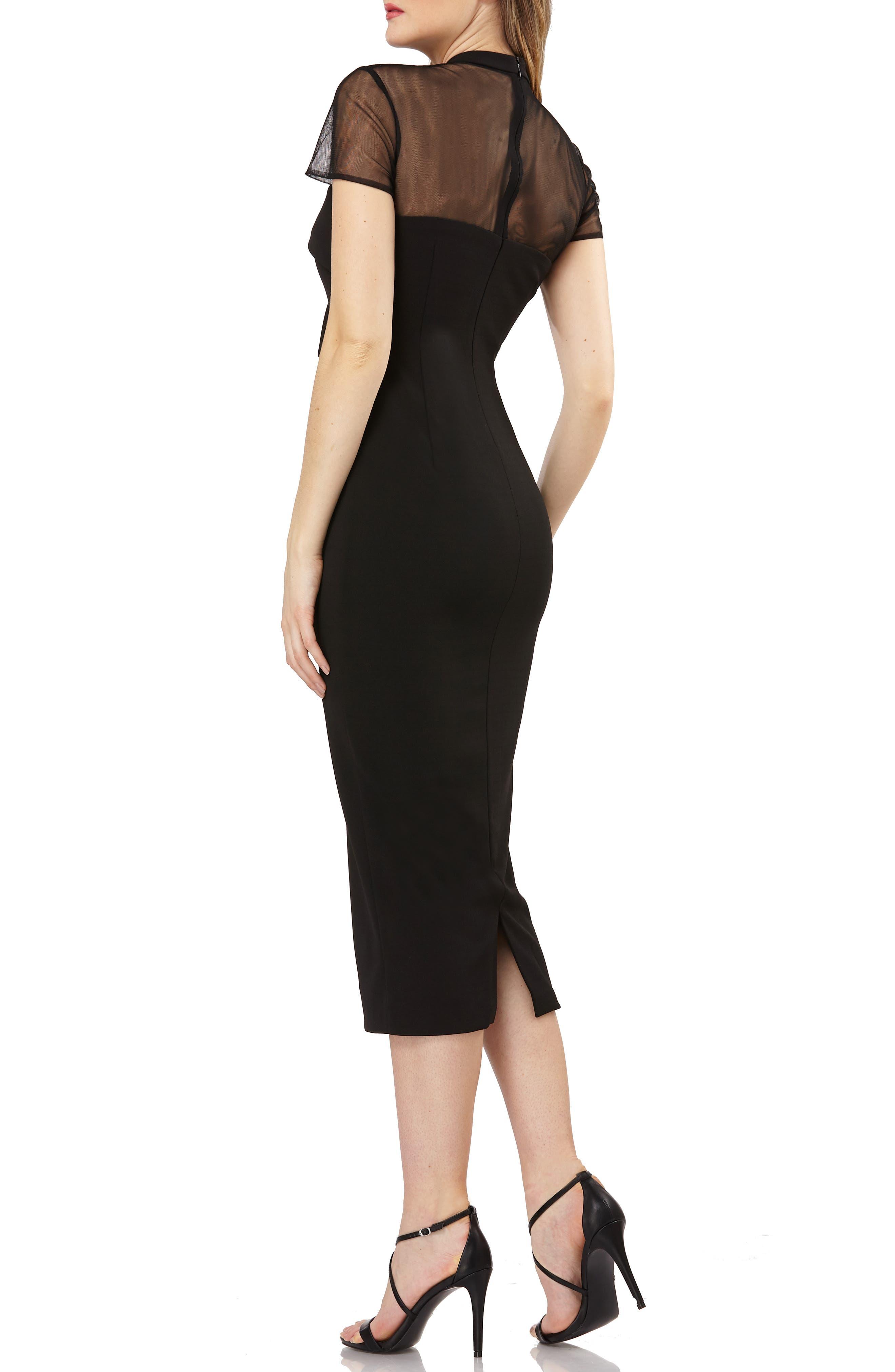 Stretch Crepe Midi Dress,                             Alternate thumbnail 2, color,                             BLACK