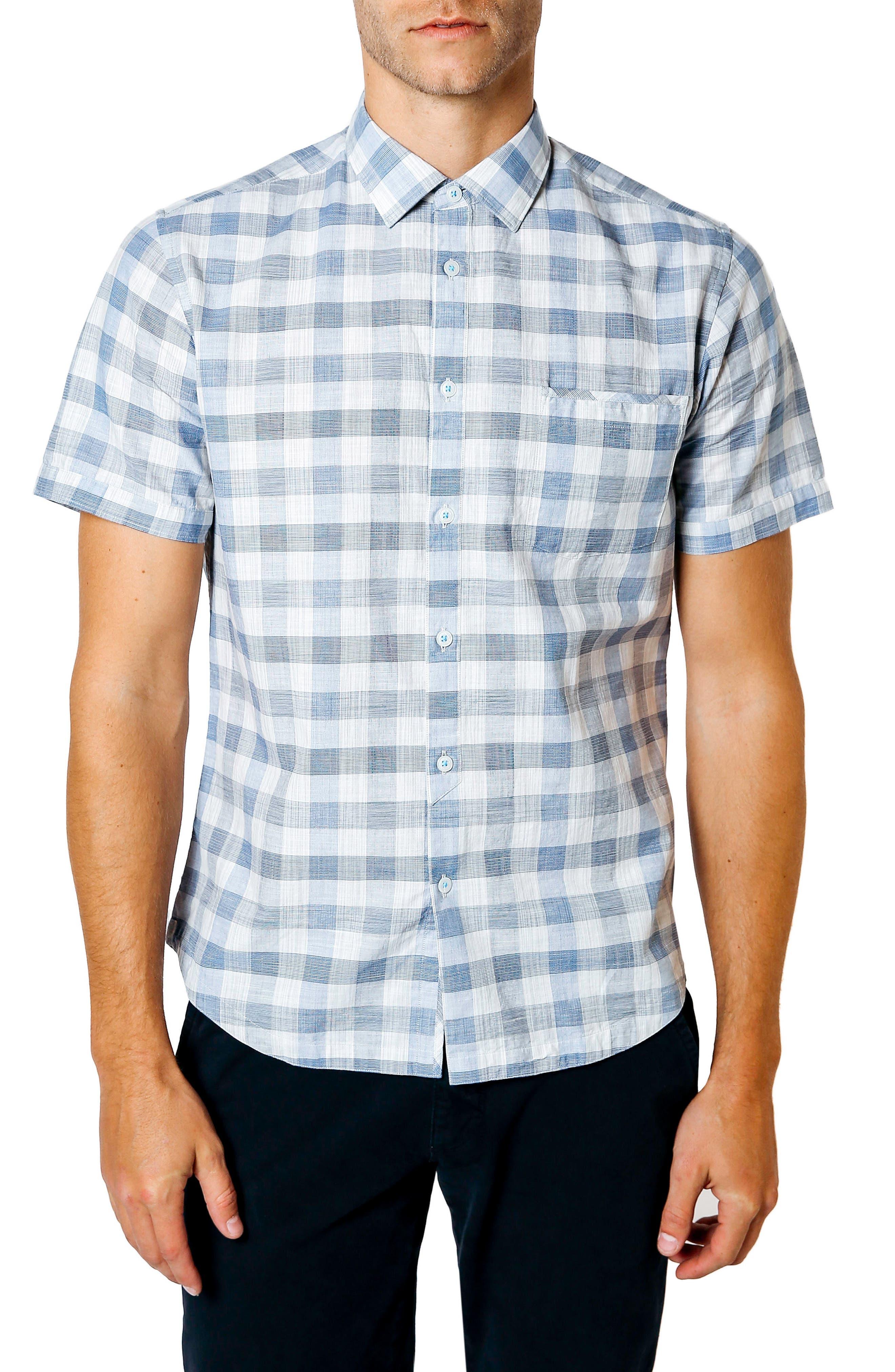Trim Fit Check Sport Shirt,                         Main,                         color, BLUE