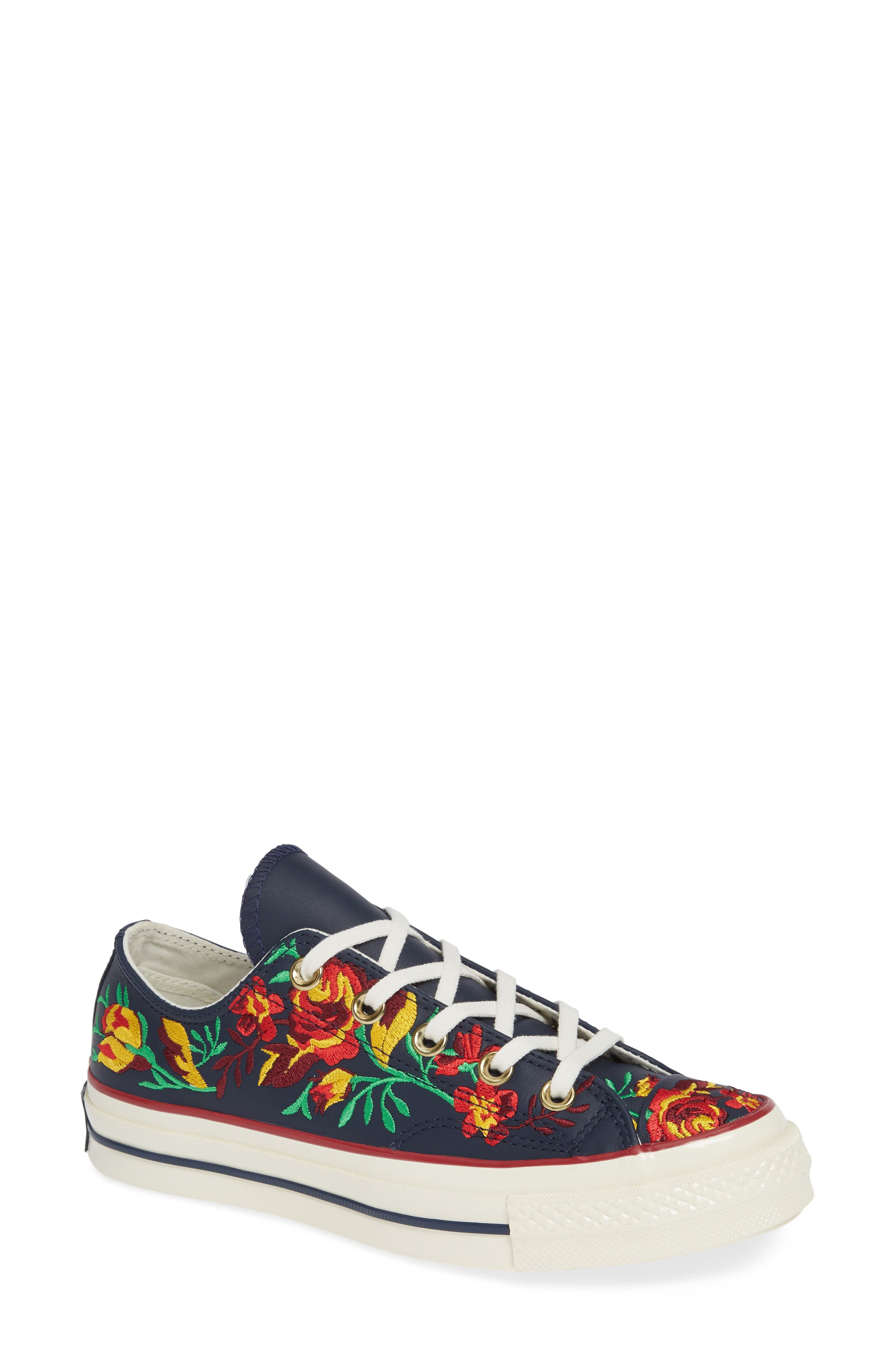Chuck Taylor<sup>®</sup> All Star<sup>®</sup> Parkway Floral 70 Low Top Sneaker,                         Main,                         color, OBSIDIAN/ CHERRY LEATHER