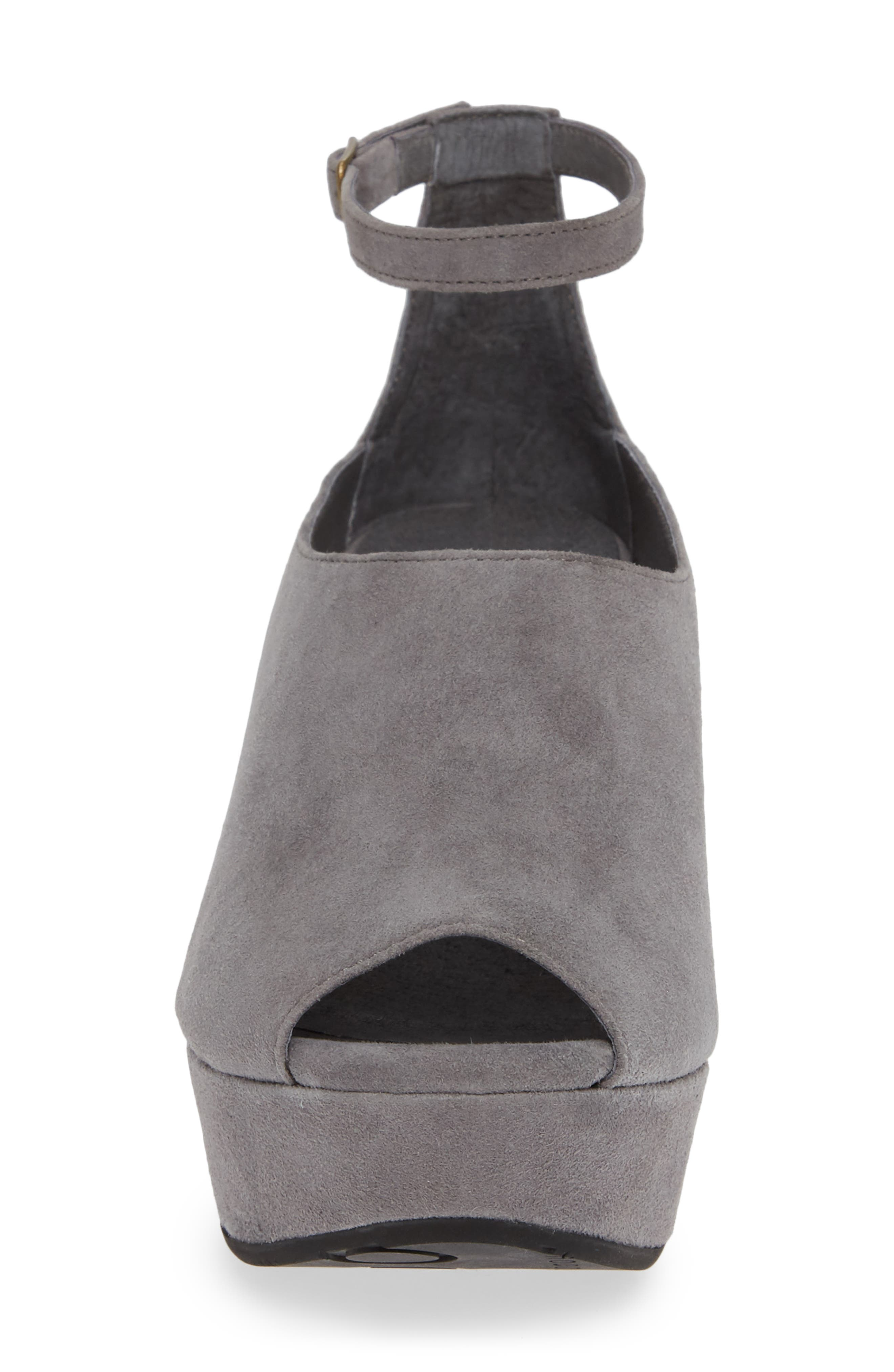 Walter Ankle Strap Wedge Sandal,                             Alternate thumbnail 4, color,                             GREY SUEDE