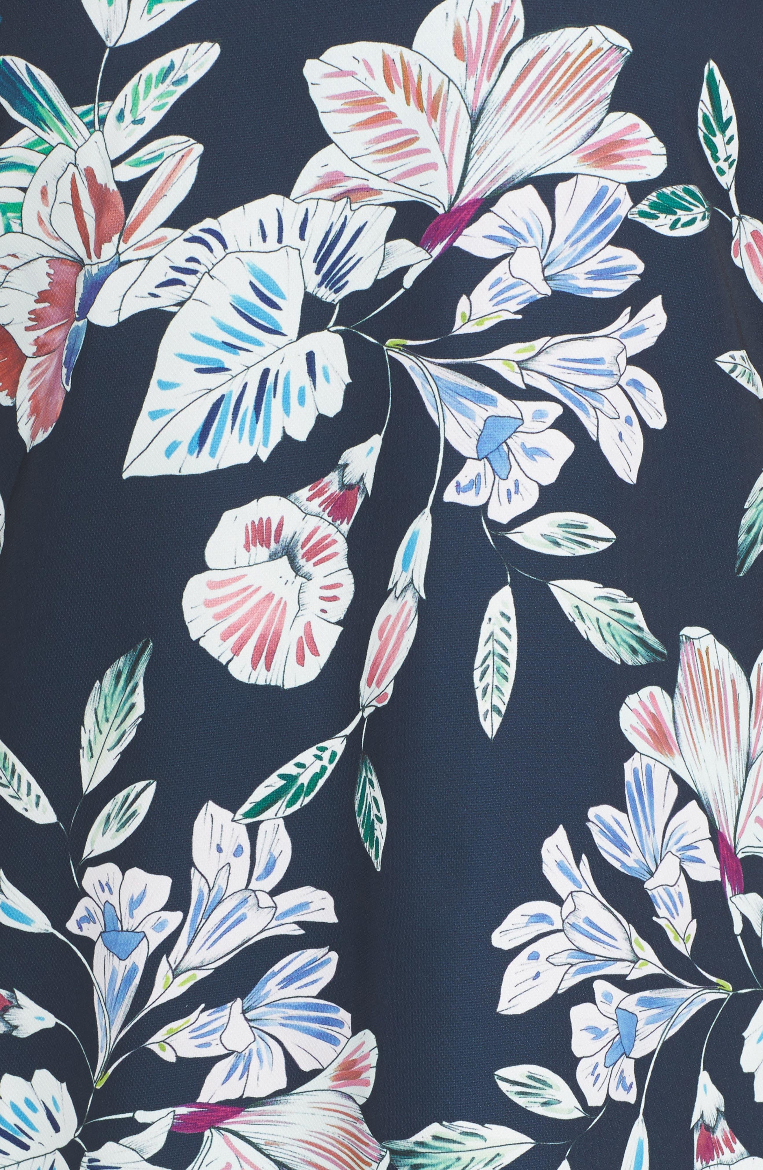 Phantom Floral Shift Dress,                             Alternate thumbnail 5, color,                             001