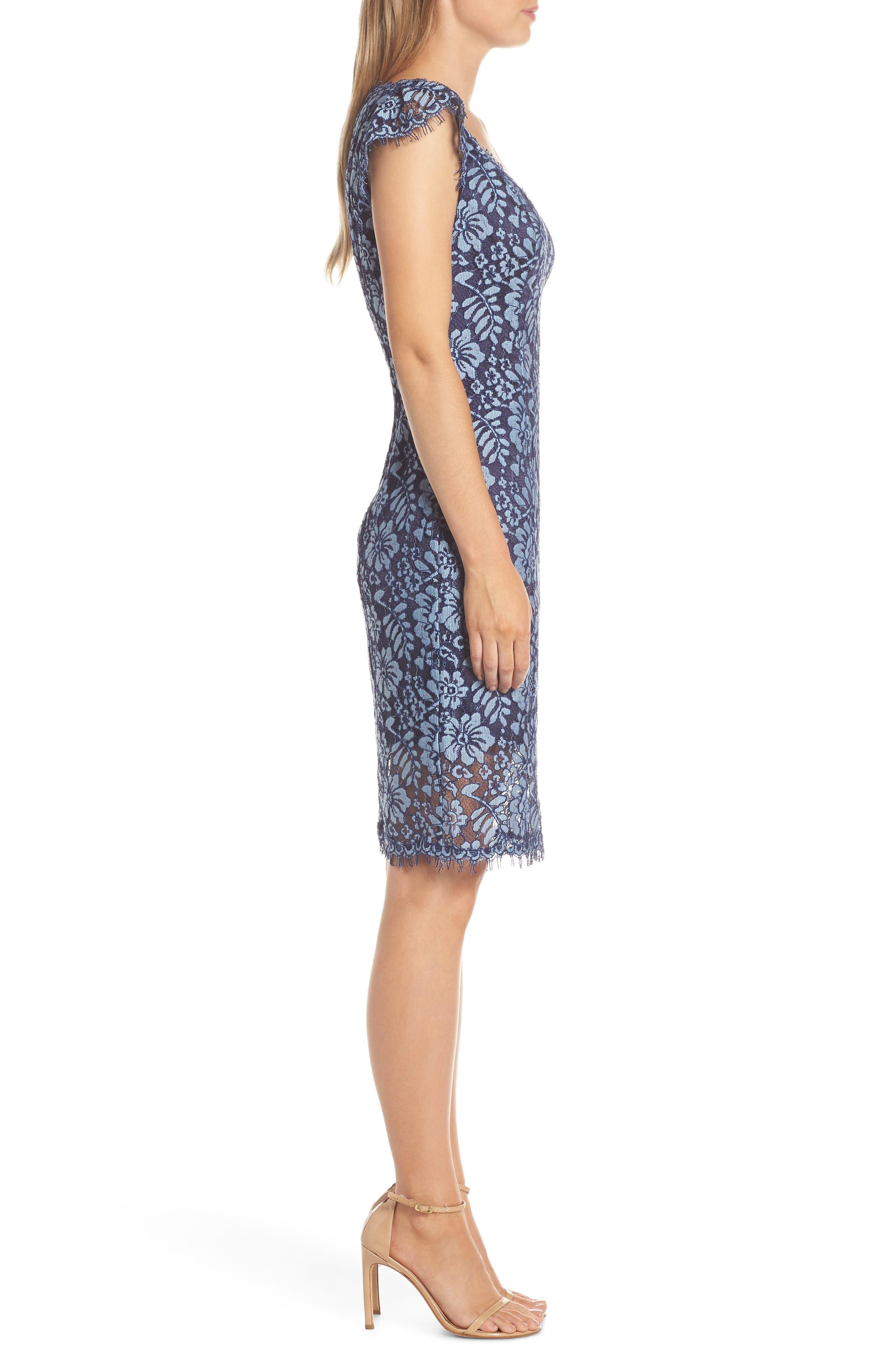 ELIZA J,                             Floral Lace Sheath Dress,                             Alternate thumbnail 4, color,                             NAVY