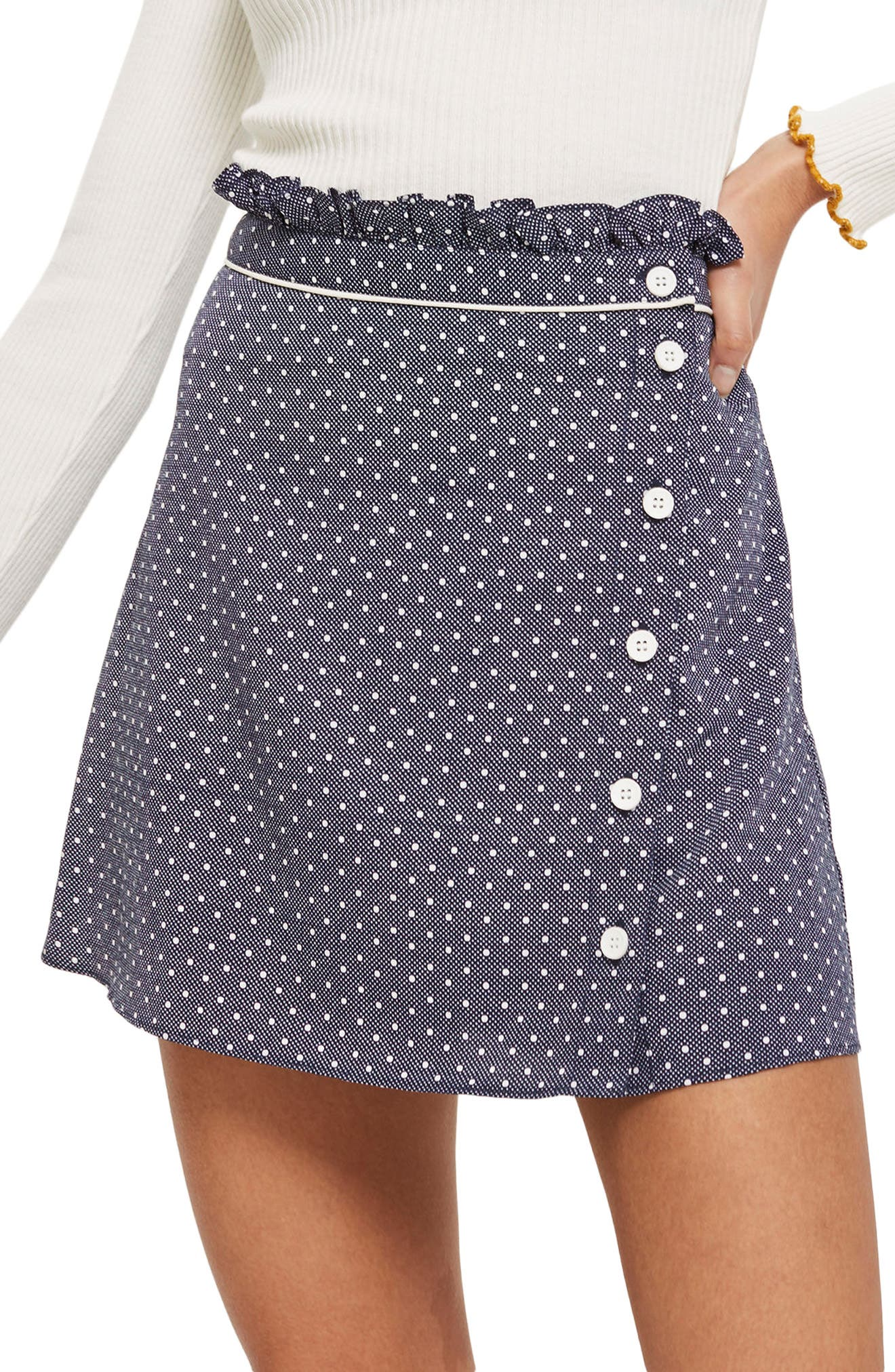 Spot Ruffle Miniskirt,                             Main thumbnail 1, color,                             411
