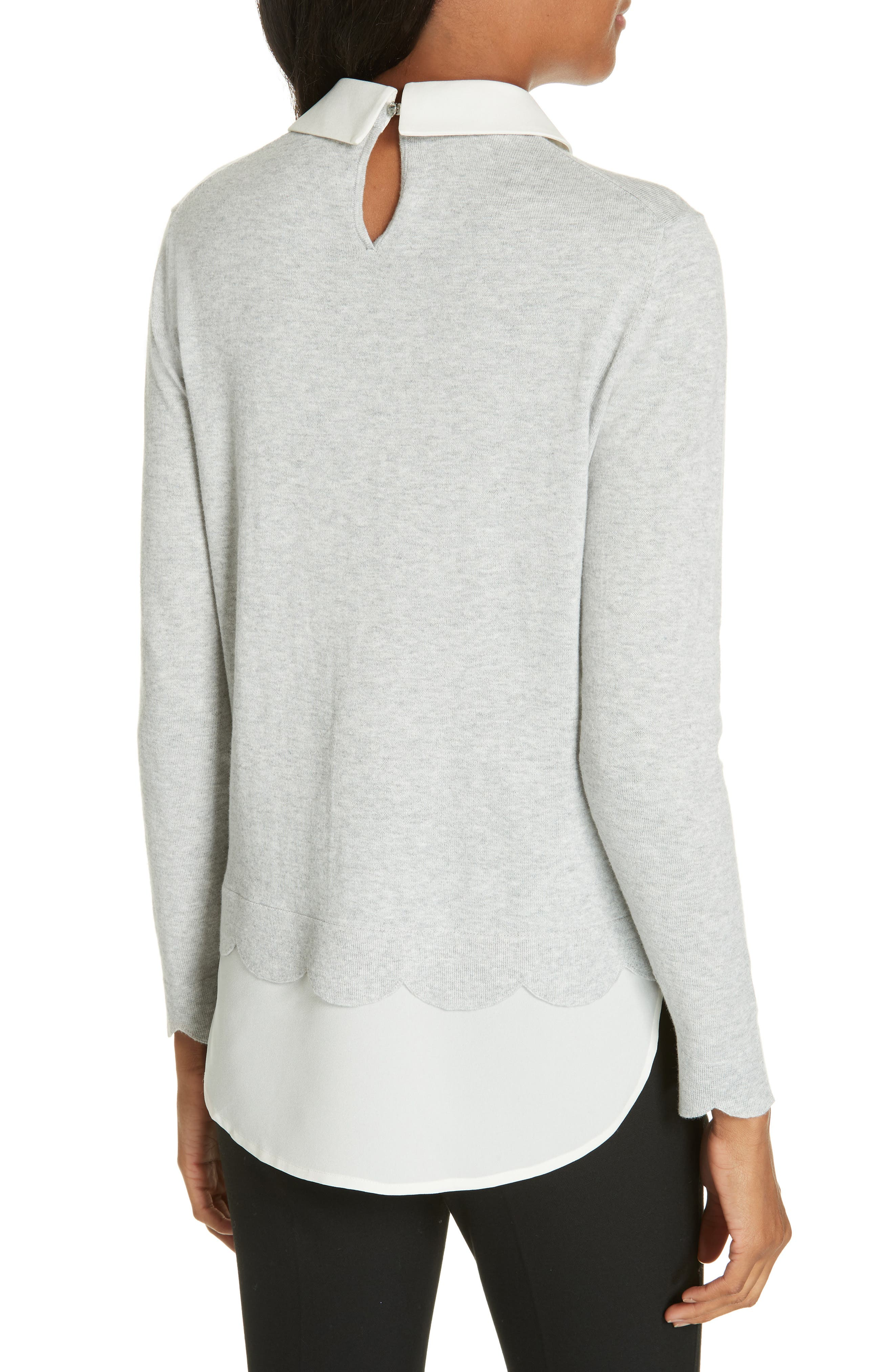 Suzaine Layered Sweater,                             Alternate thumbnail 2, color,                             GREY