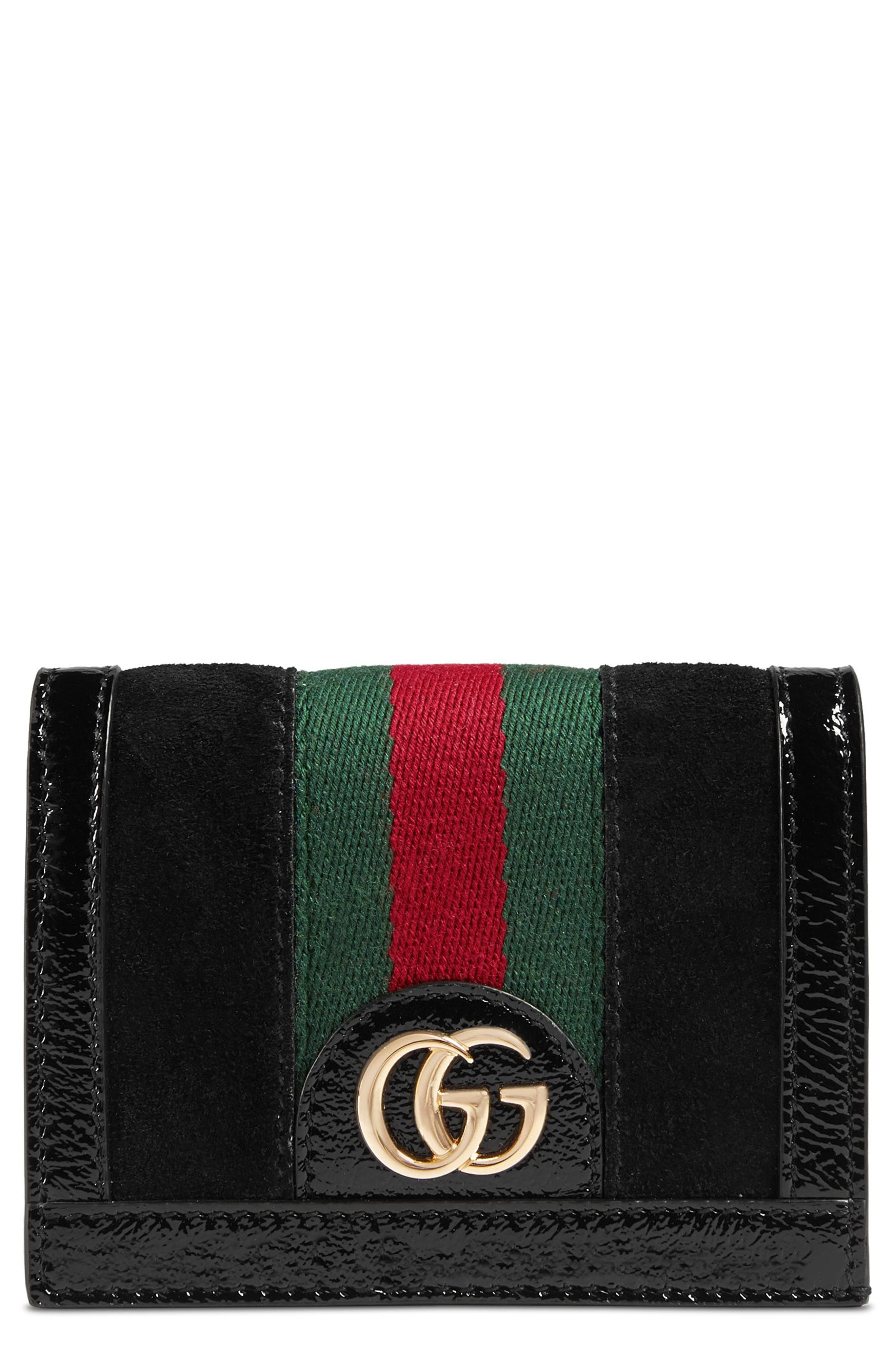 Ophidia Suede Card Case,                             Main thumbnail 1, color,                             NERO/ NERO/ VERT RED VERT