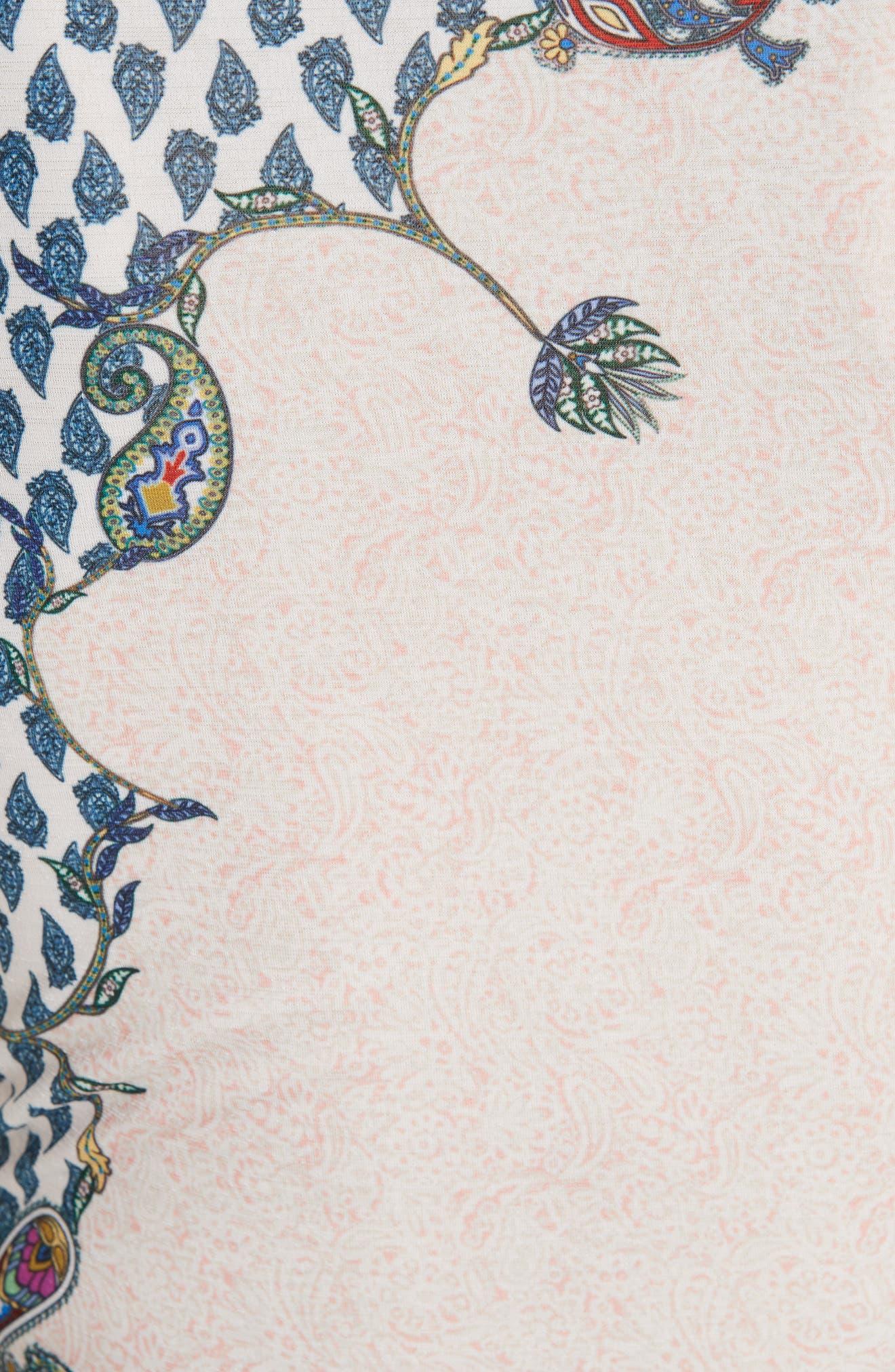 Paisley Print Matte Jersey Top,                             Alternate thumbnail 5, color,                             BLUSH MULTI