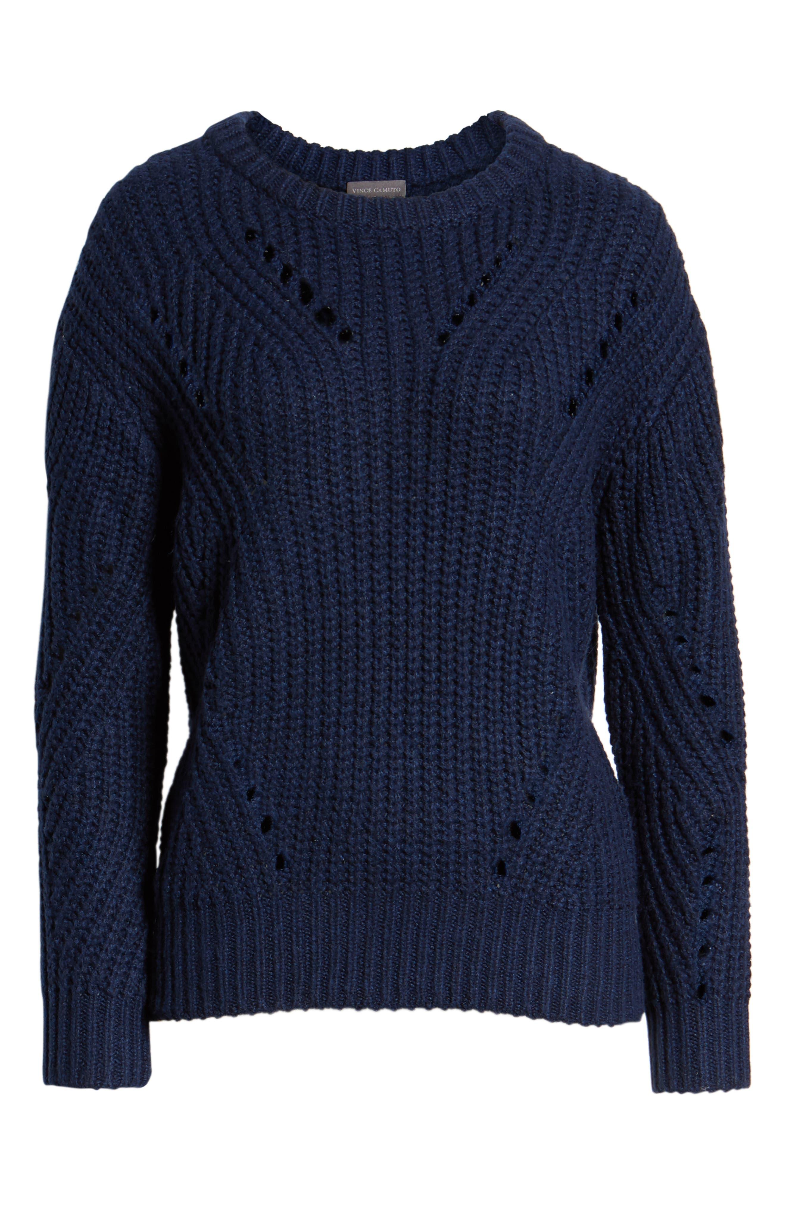 Rib Pointelle Detail Cotton Blend Sweater,                             Alternate thumbnail 6, color,                             CLASSIC NAVY