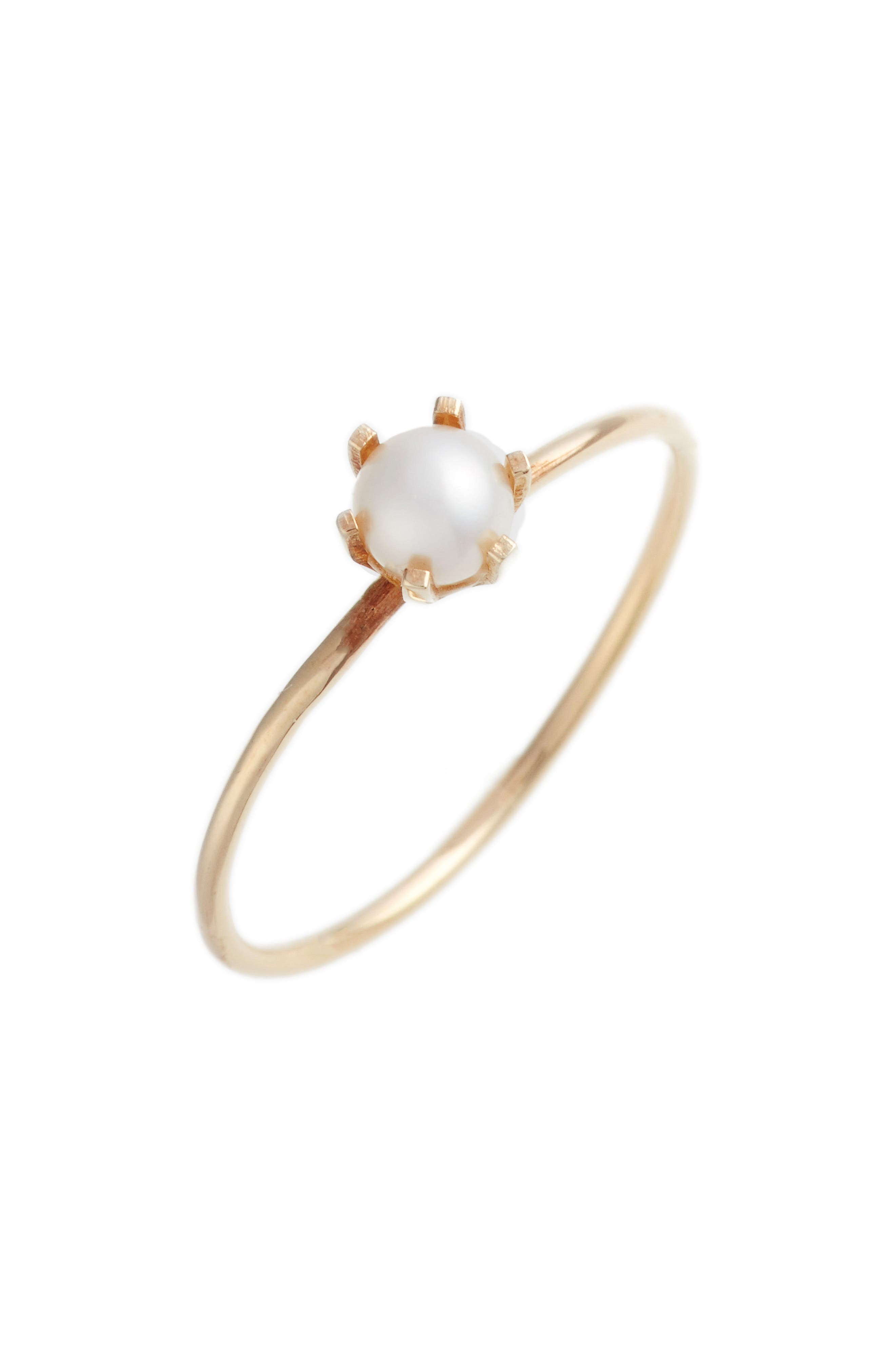 Pearl Solitaire Ring,                         Main,                         color, YELLOW GOLD/ WHITE PEARL