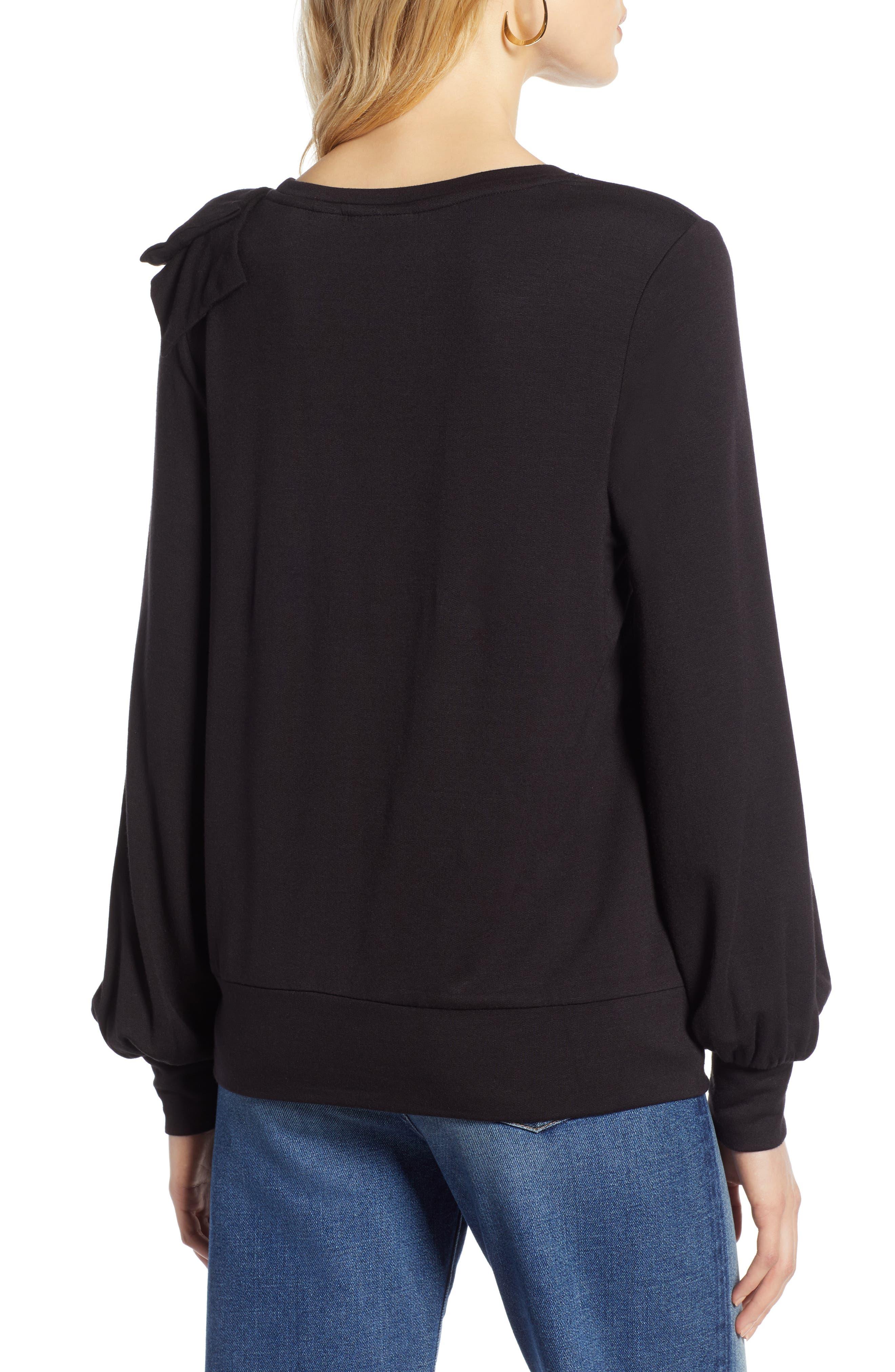 Bow Trim Sweatshirt,                             Alternate thumbnail 2, color,                             001
