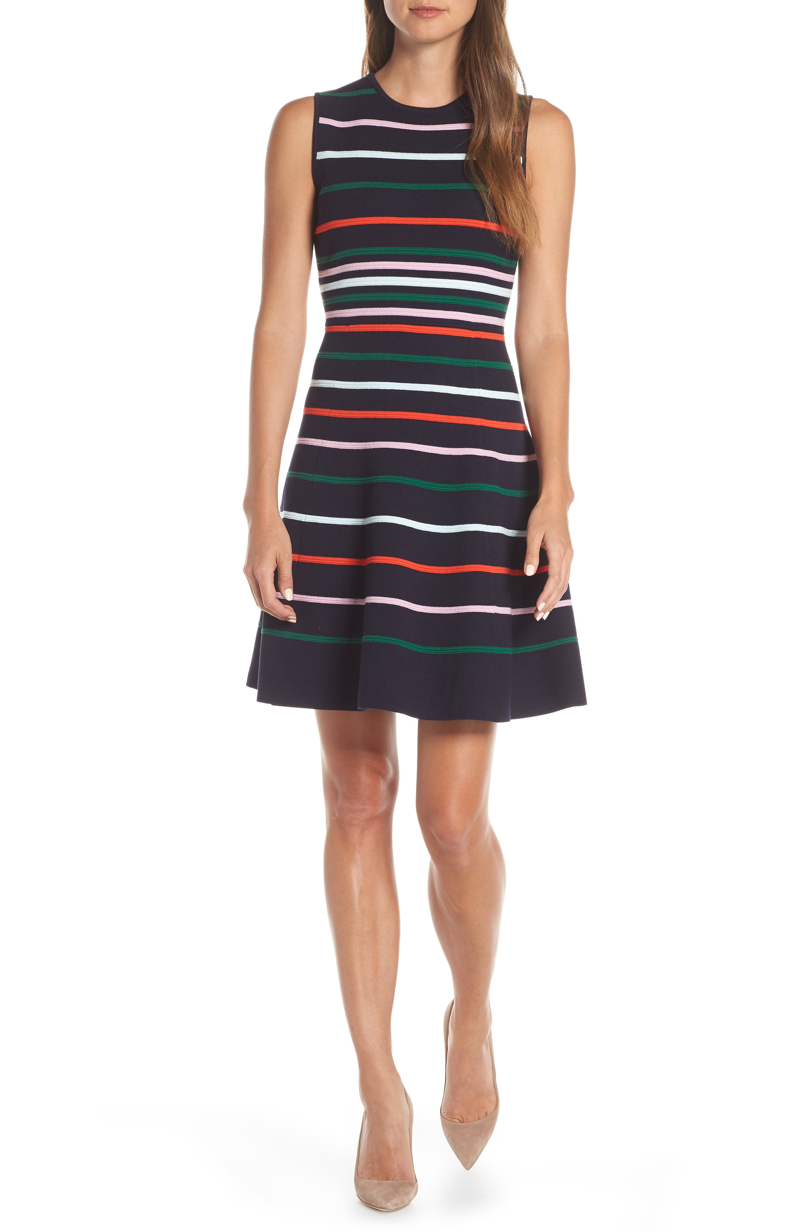 c170008265a Vince Camuto Stripe Fit   Flare Sweater Dress In Navy