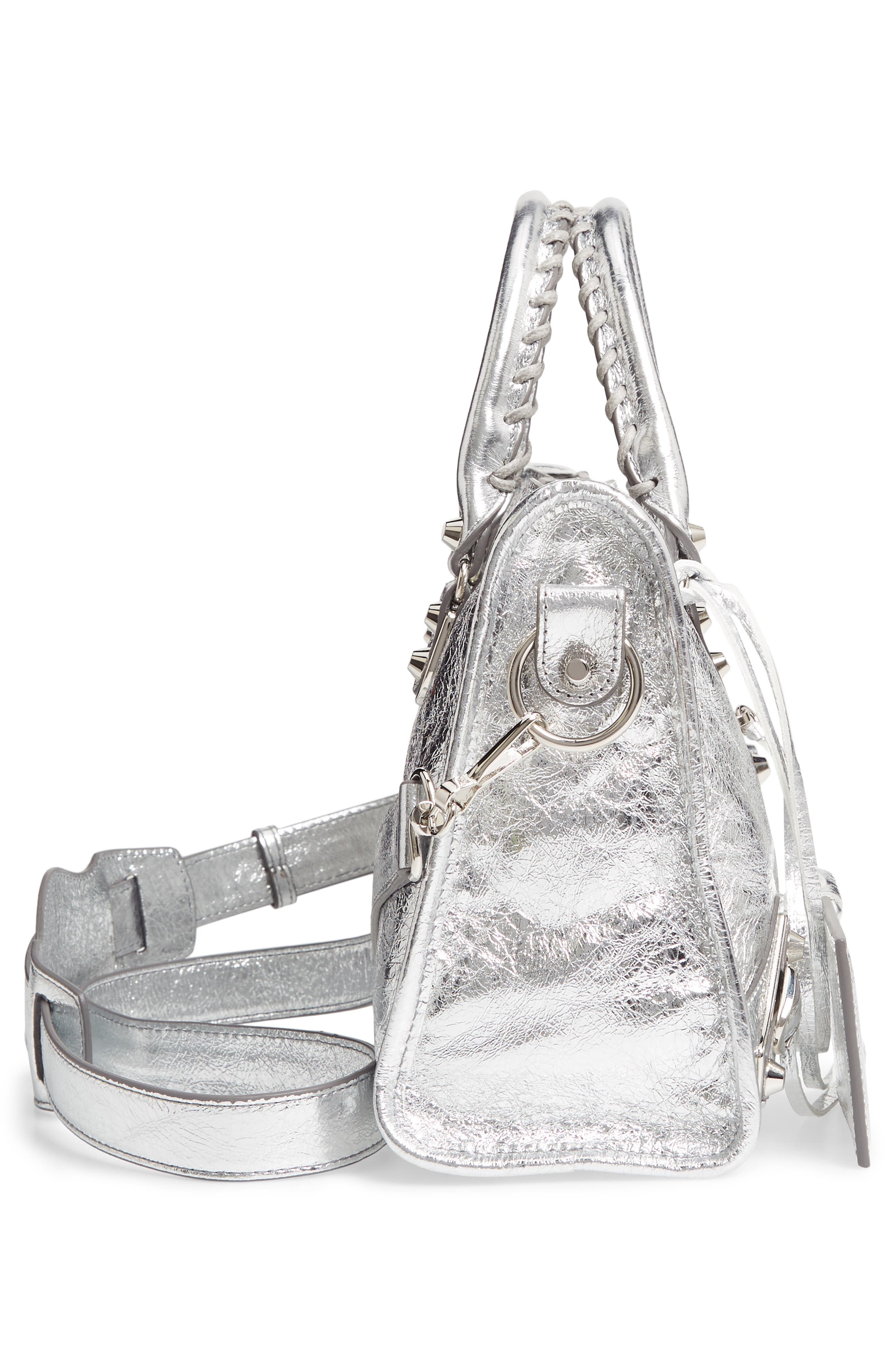 Small Metallic Edge City Leather Tote,                             Alternate thumbnail 5, color,                             ARGENT