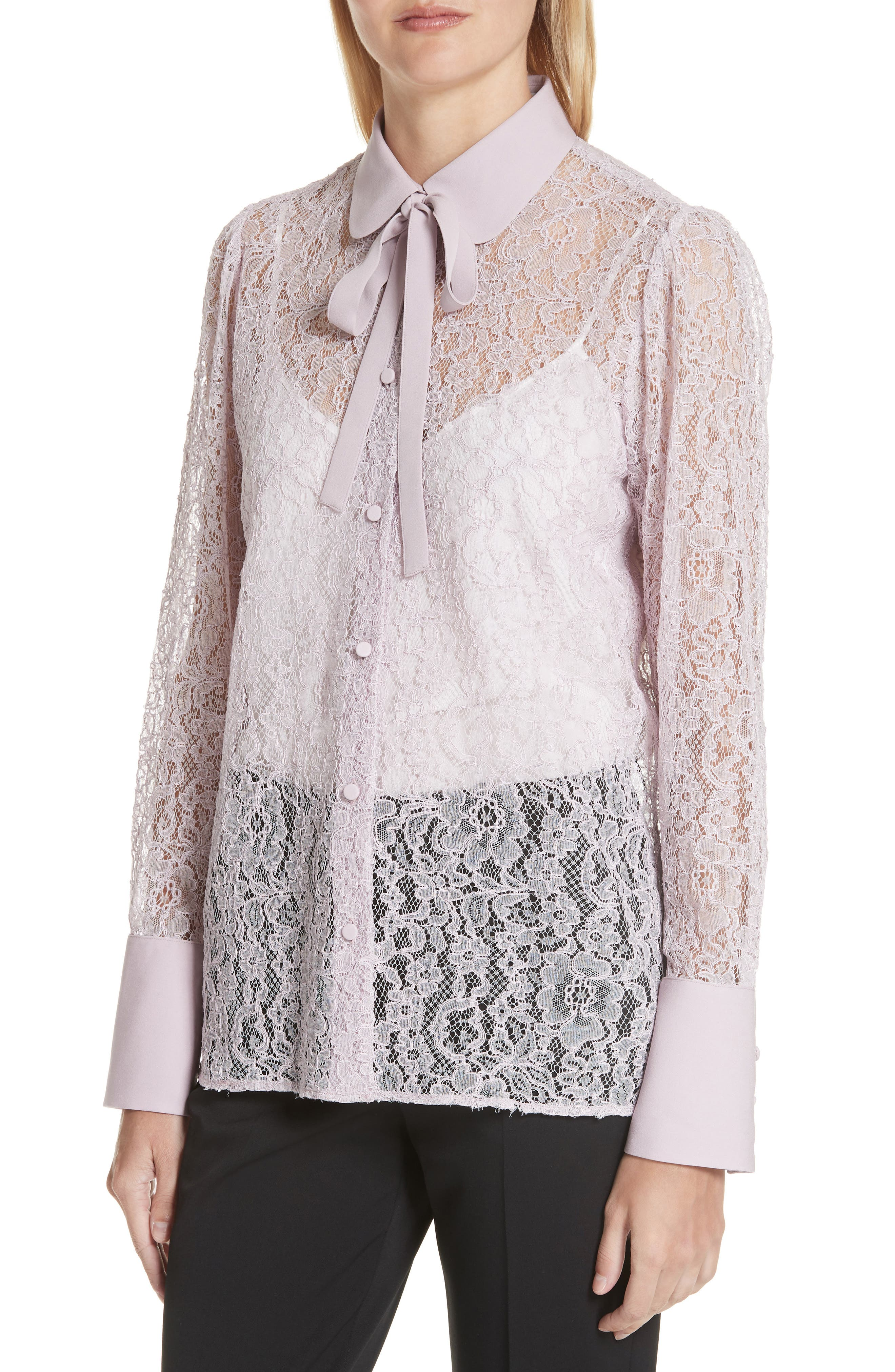 VALENTINO,                             Tie Neck Chantilly Lace Shirt,                             Alternate thumbnail 4, color,                             650